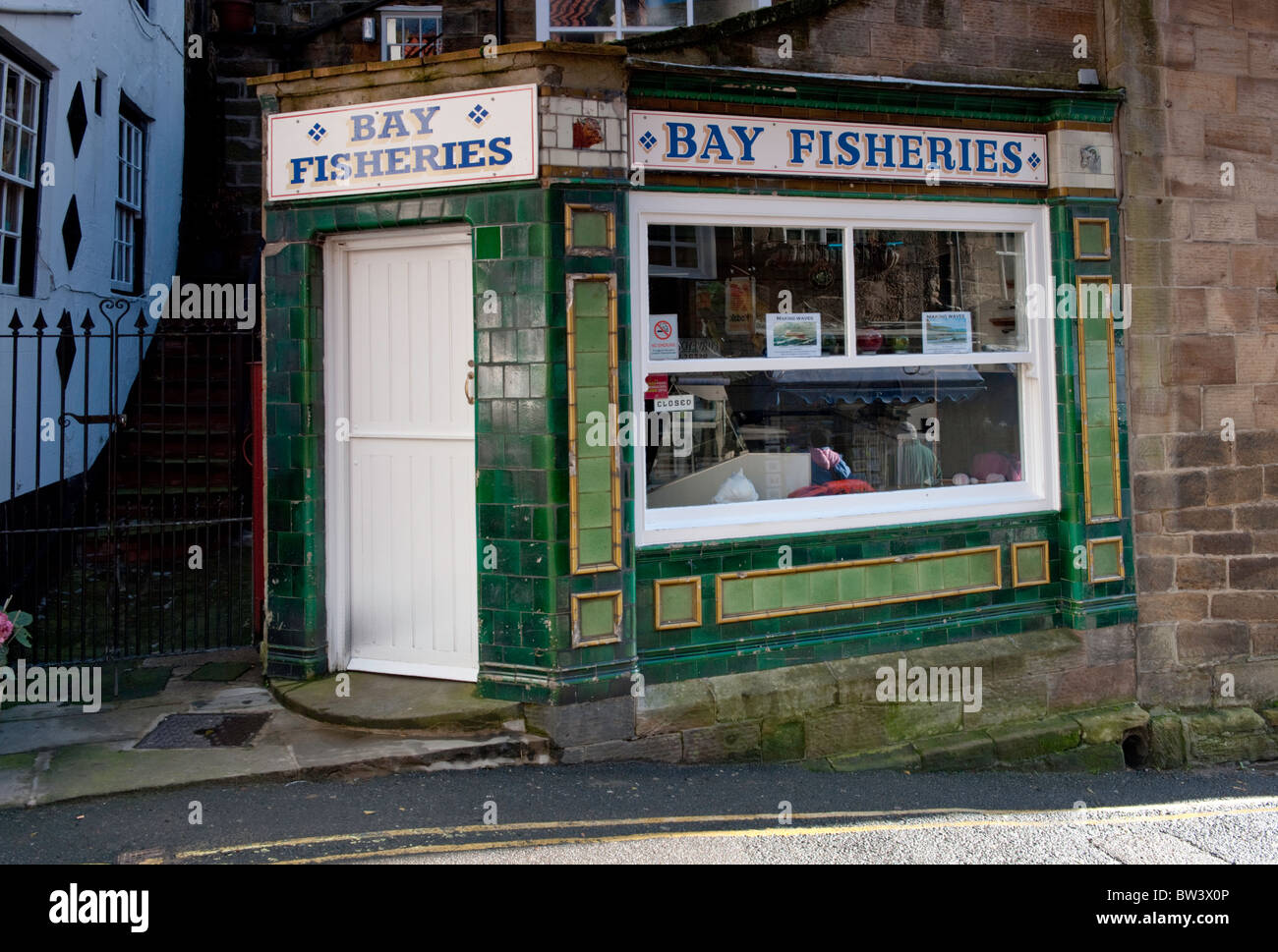 Wet fish shop in Robin Hoods Bay near Whitby, North Yorkshire. - Stock Image