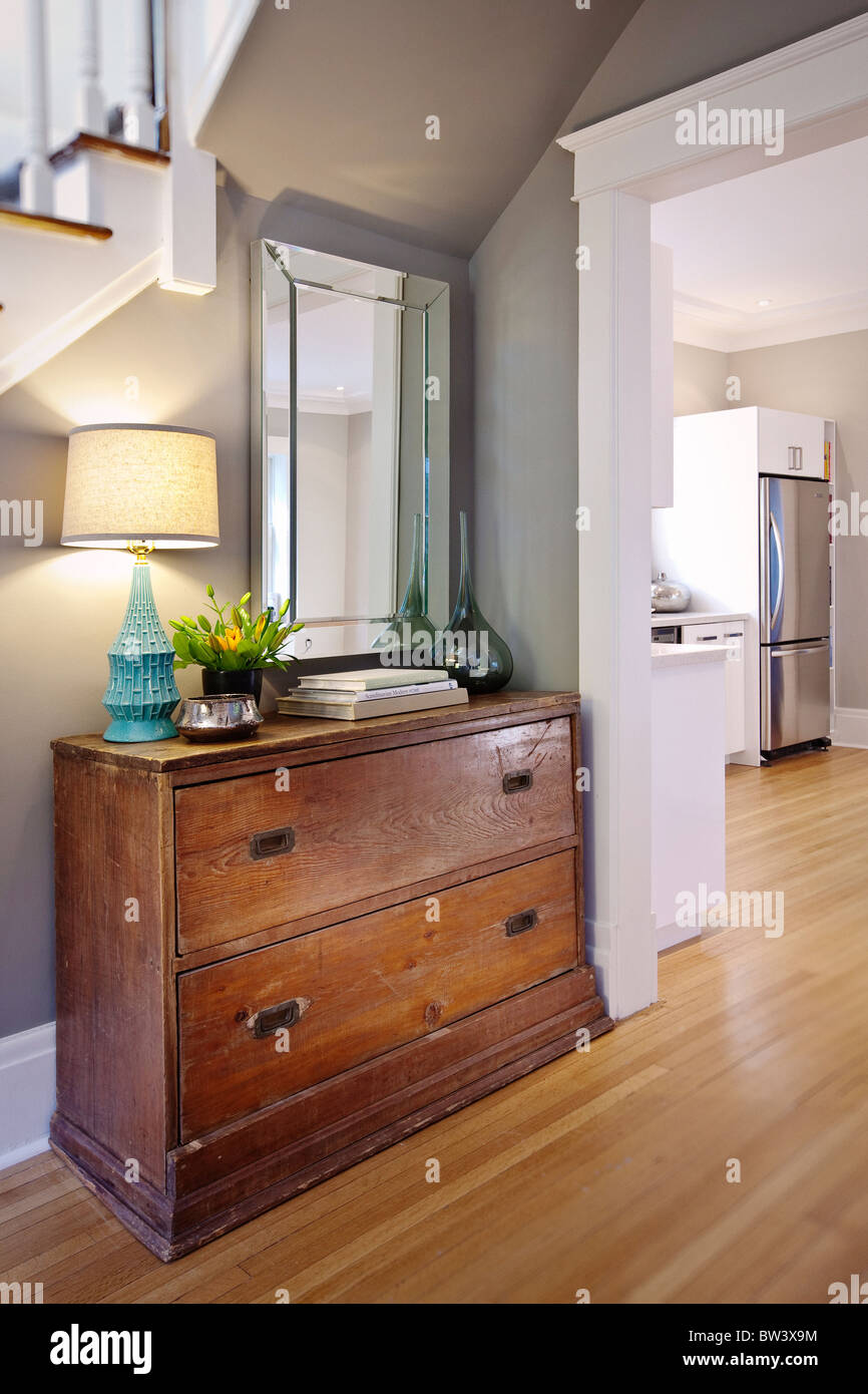 Antique Dresser With Mirror And Light Stock Photo Alamy