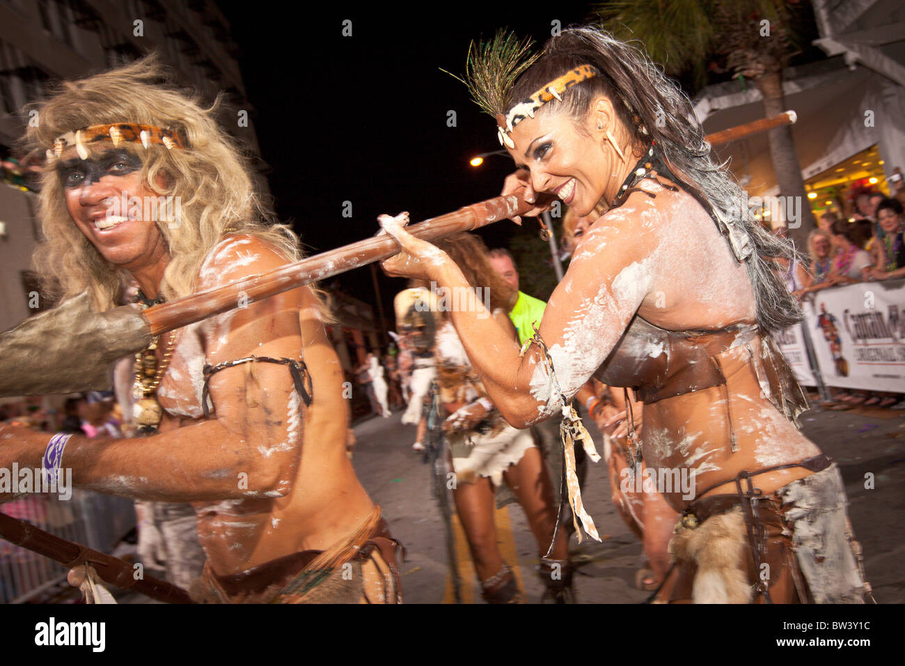 Costumed revelers during Fantasy Fest halloween parade in Key West, Florida. - Stock Image