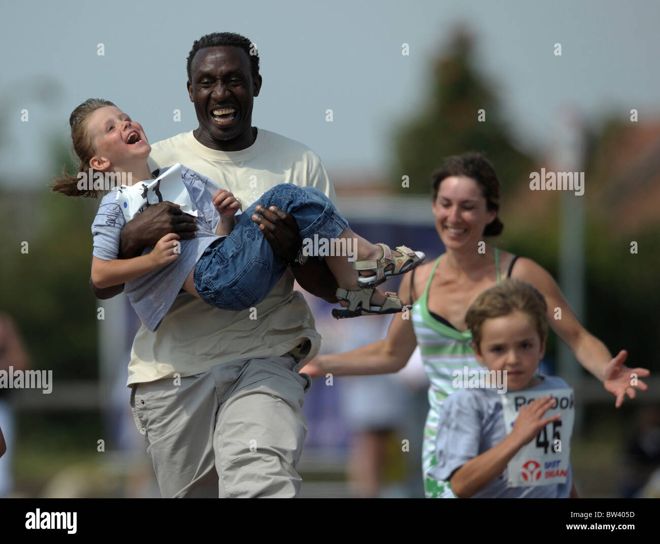 Linford Christie in action from the Reebok run at Hawkinge, 27th July 2008. - Stock Image