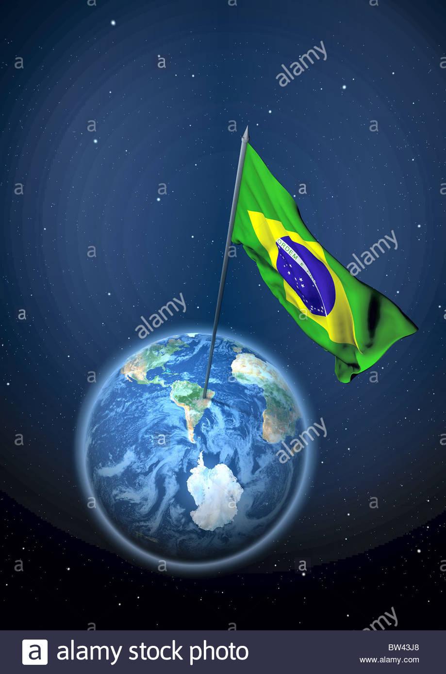 Flag of Brazil - Stock Image