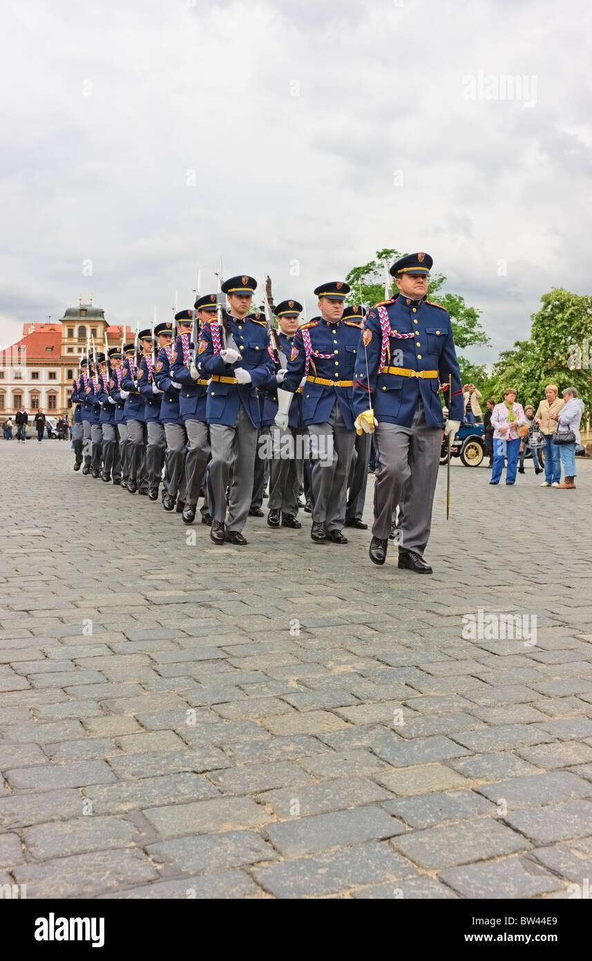 Prague Castle guard marching in order towards Prague Castle, Czech Republic - Stock Image