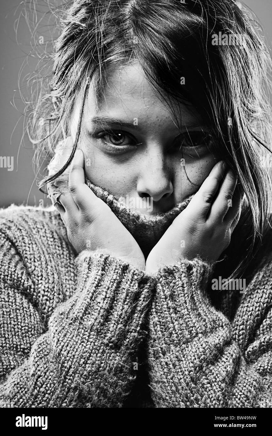Black and White Shot of a Sad Child - Stock Image