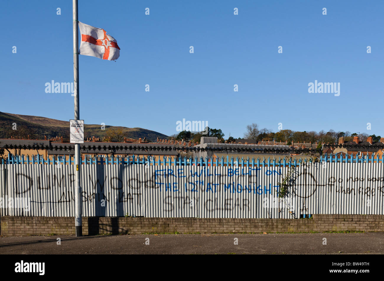 Graffiti on a fence in a loyalist area of Belfast - Stock Image