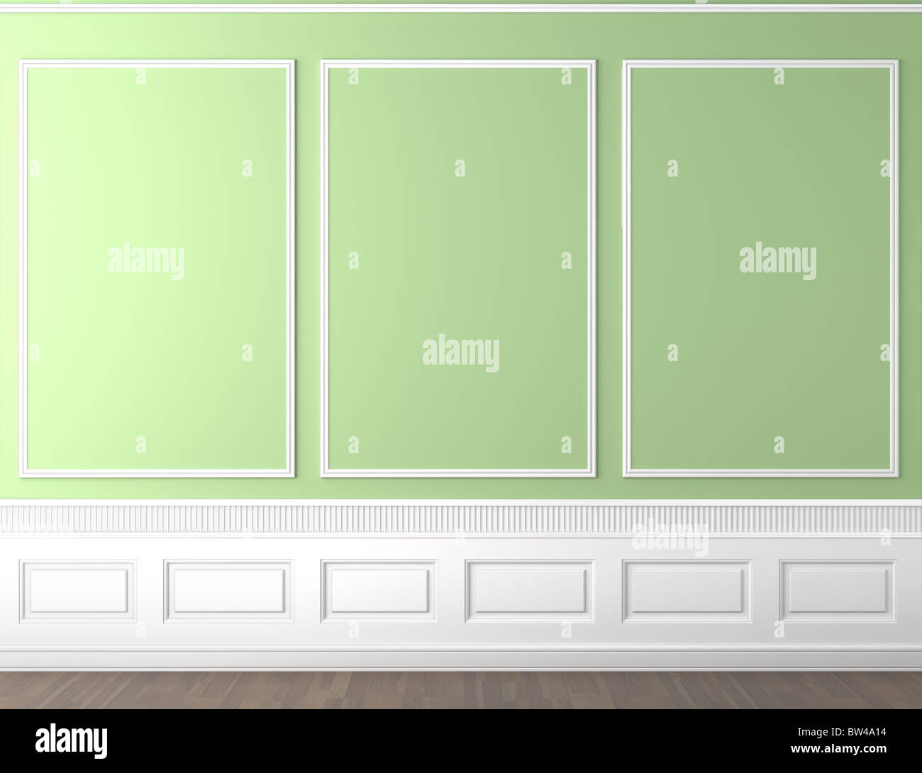 interior scene of empty green and white classic wall with copy space - Stock Image