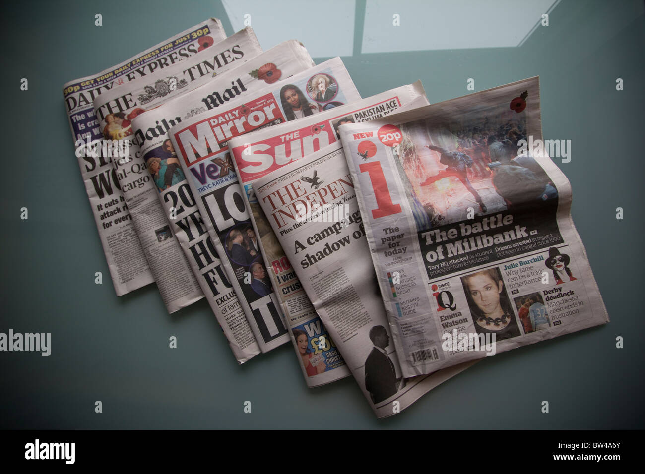 Daily UK tabloid newspapers, daily express, the times, Daily mail, daily mirror, the sun, the independent, i independent, Stock Photo