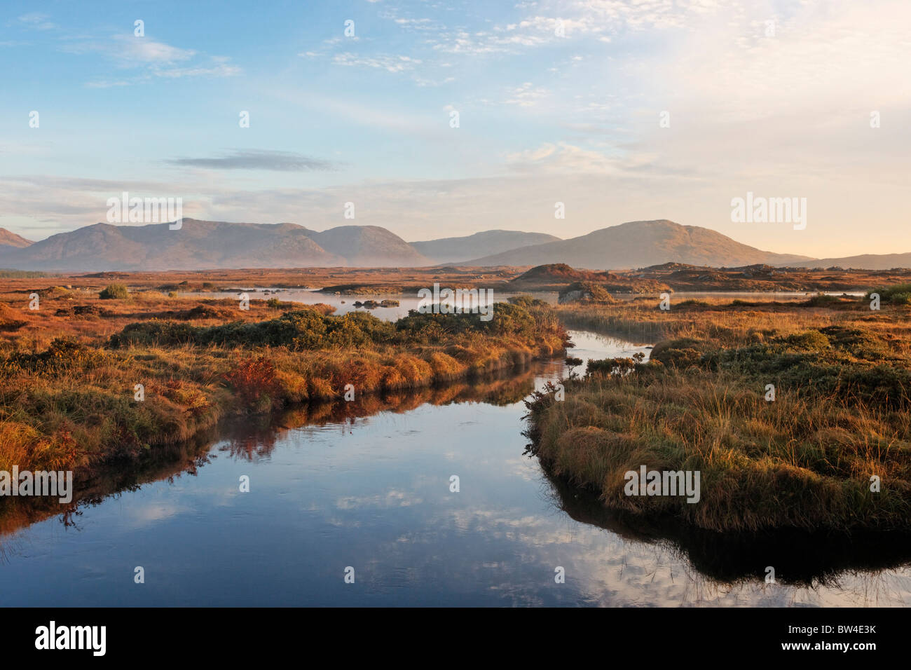 The Maumturk Mountains and the Invermore River, Connemara, County Galway, Connaught, Ireland. - Stock Image