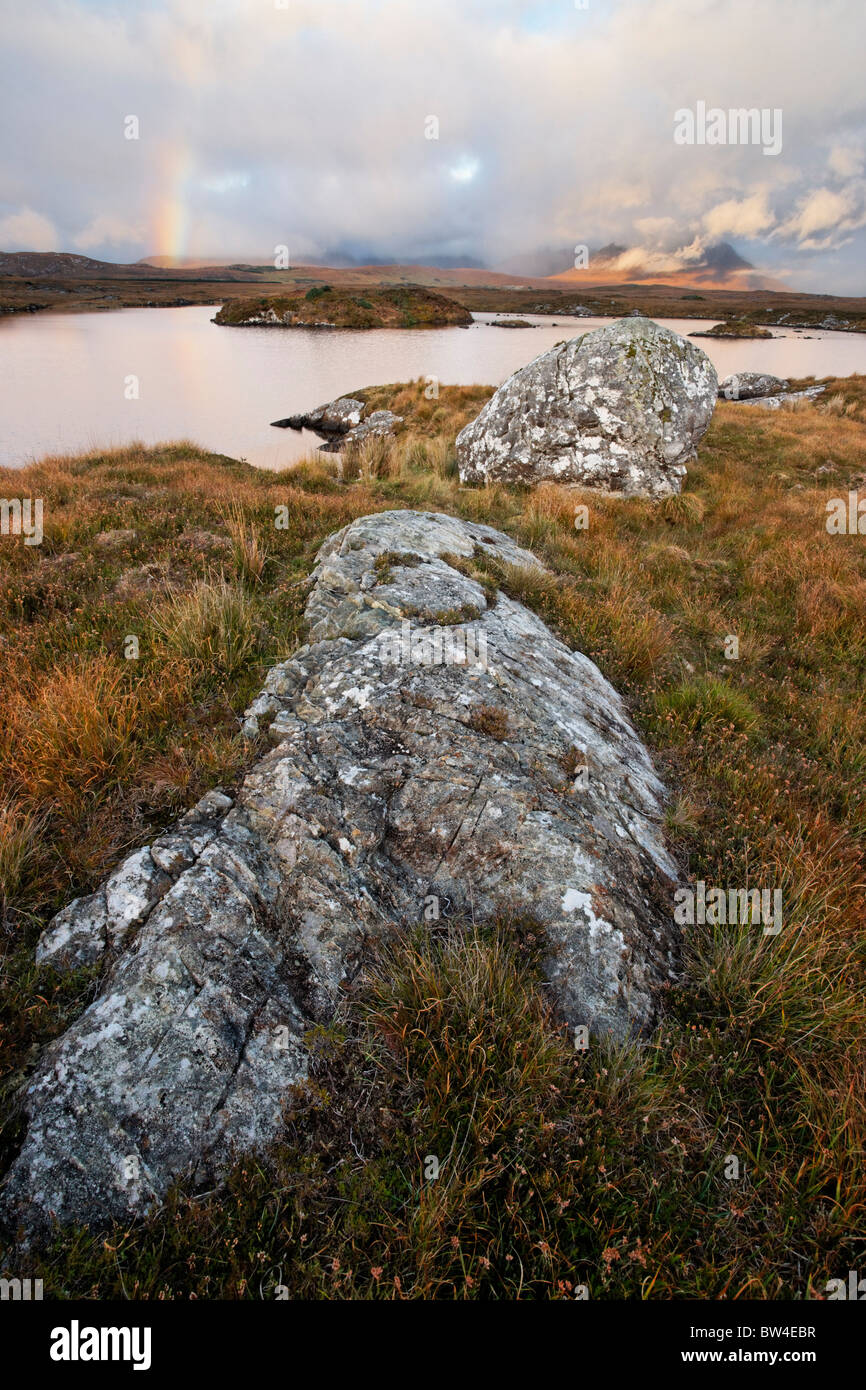 The Twelve Pins from Conga Lough, Connemara, County Galway, Connaught, Ireland. - Stock Image
