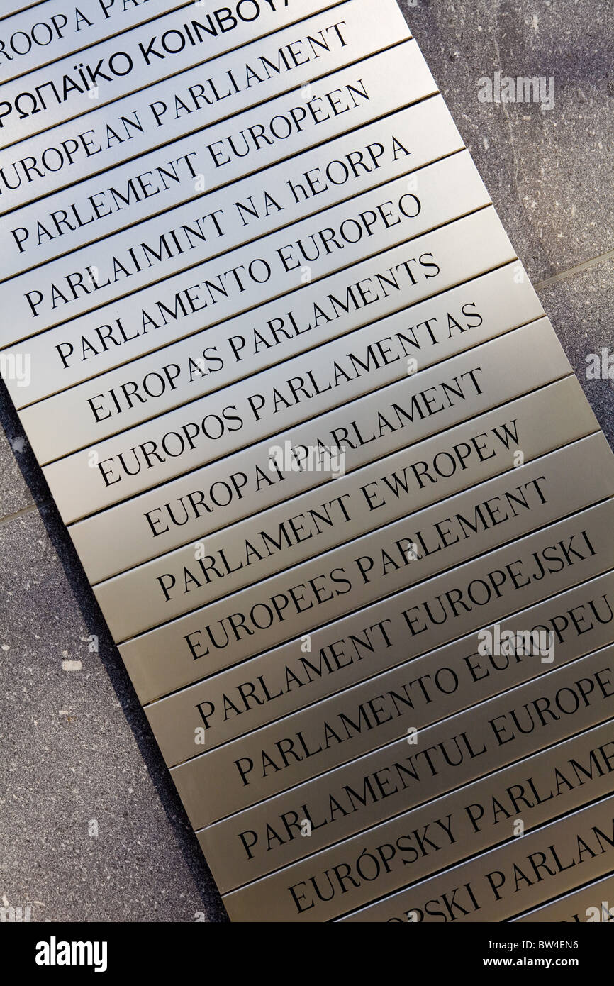 Placard at the European Parliament in all languages of the EU - Stock Image