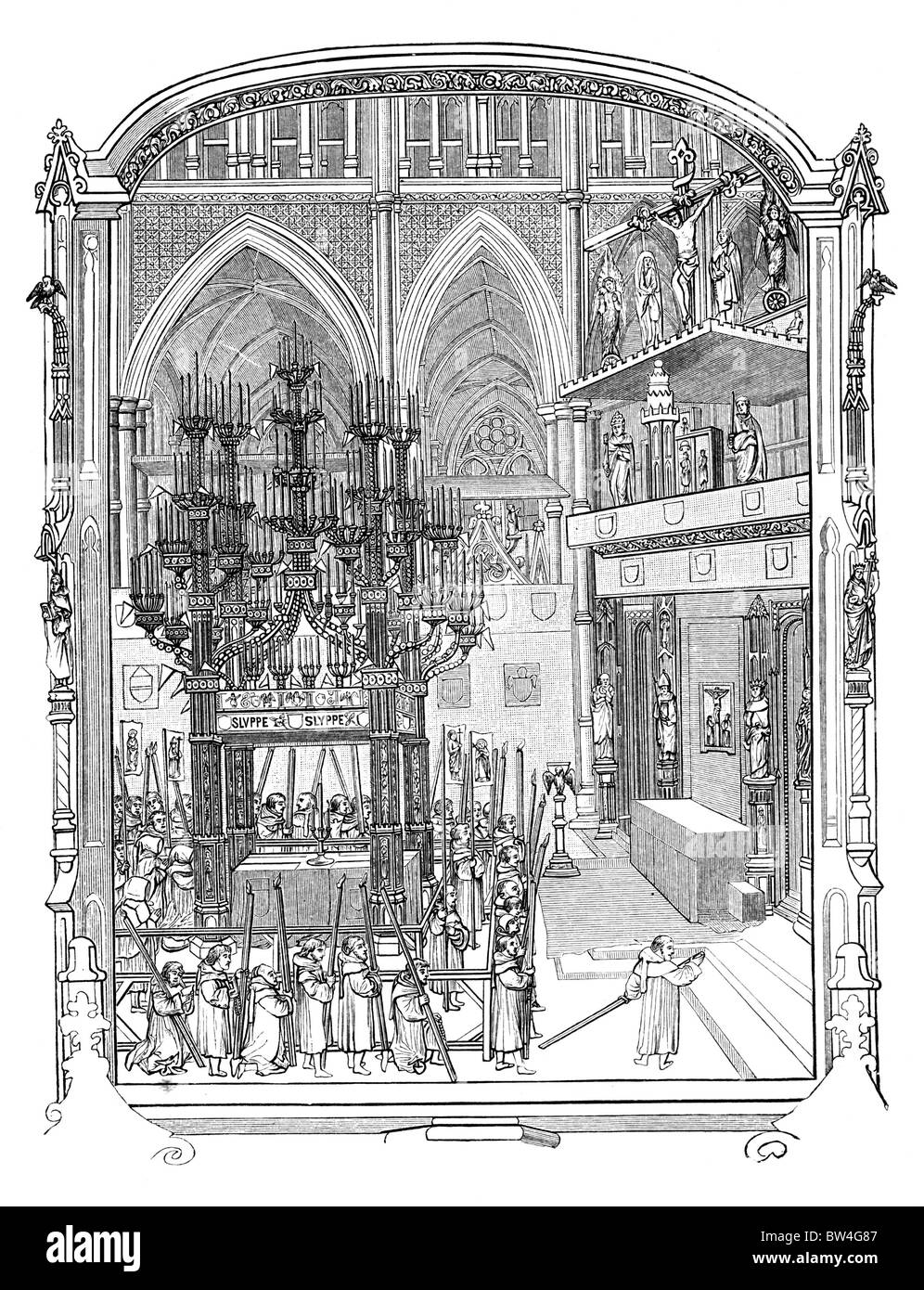 The Funeral of Abbot Islip of Westminster in 1532; Black and White Illustration; - Stock Image