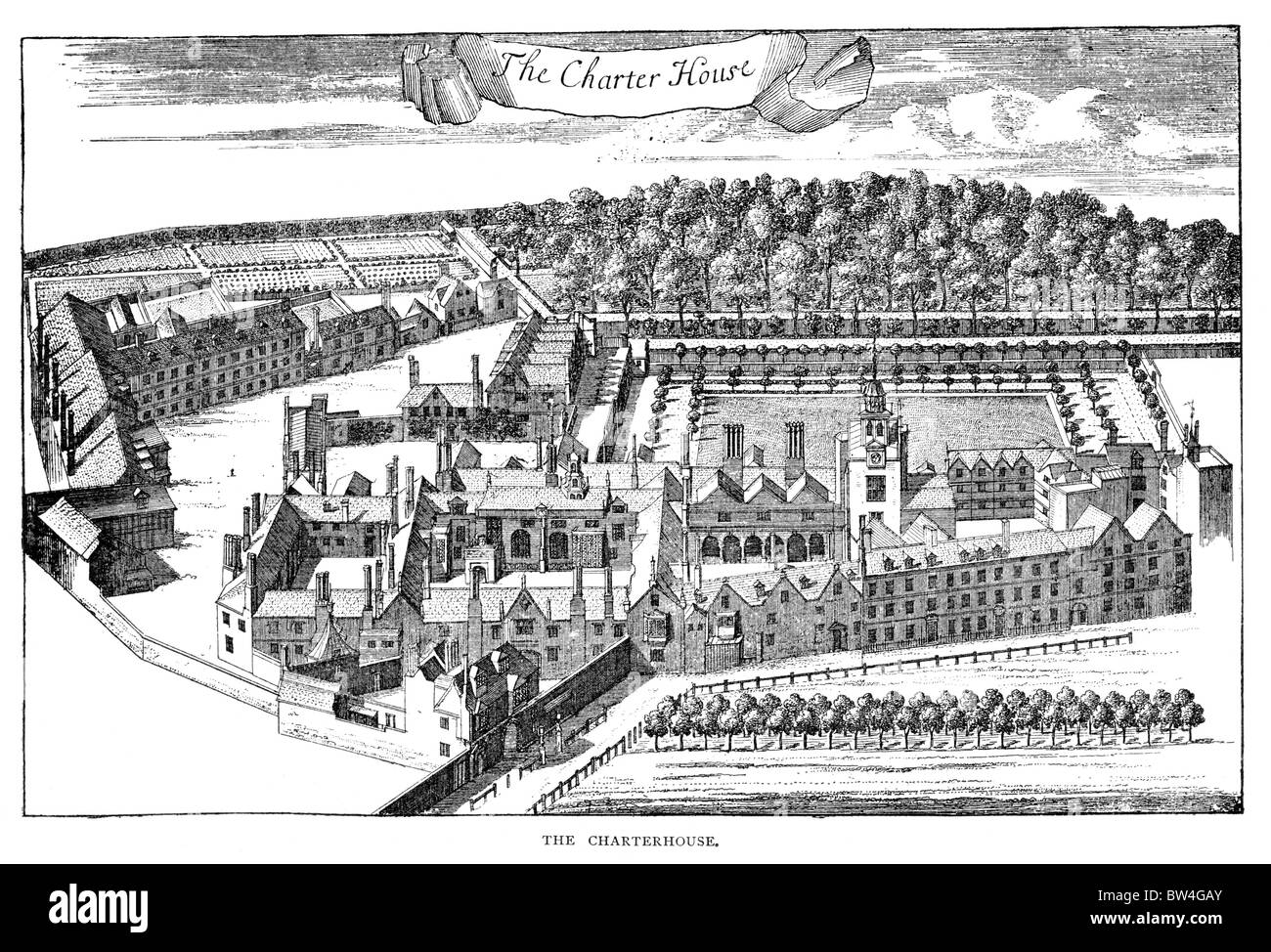 The Charterhouse Hospital and School Godalming, Surrey, circa 1775; Black and White Illustration; - Stock Image