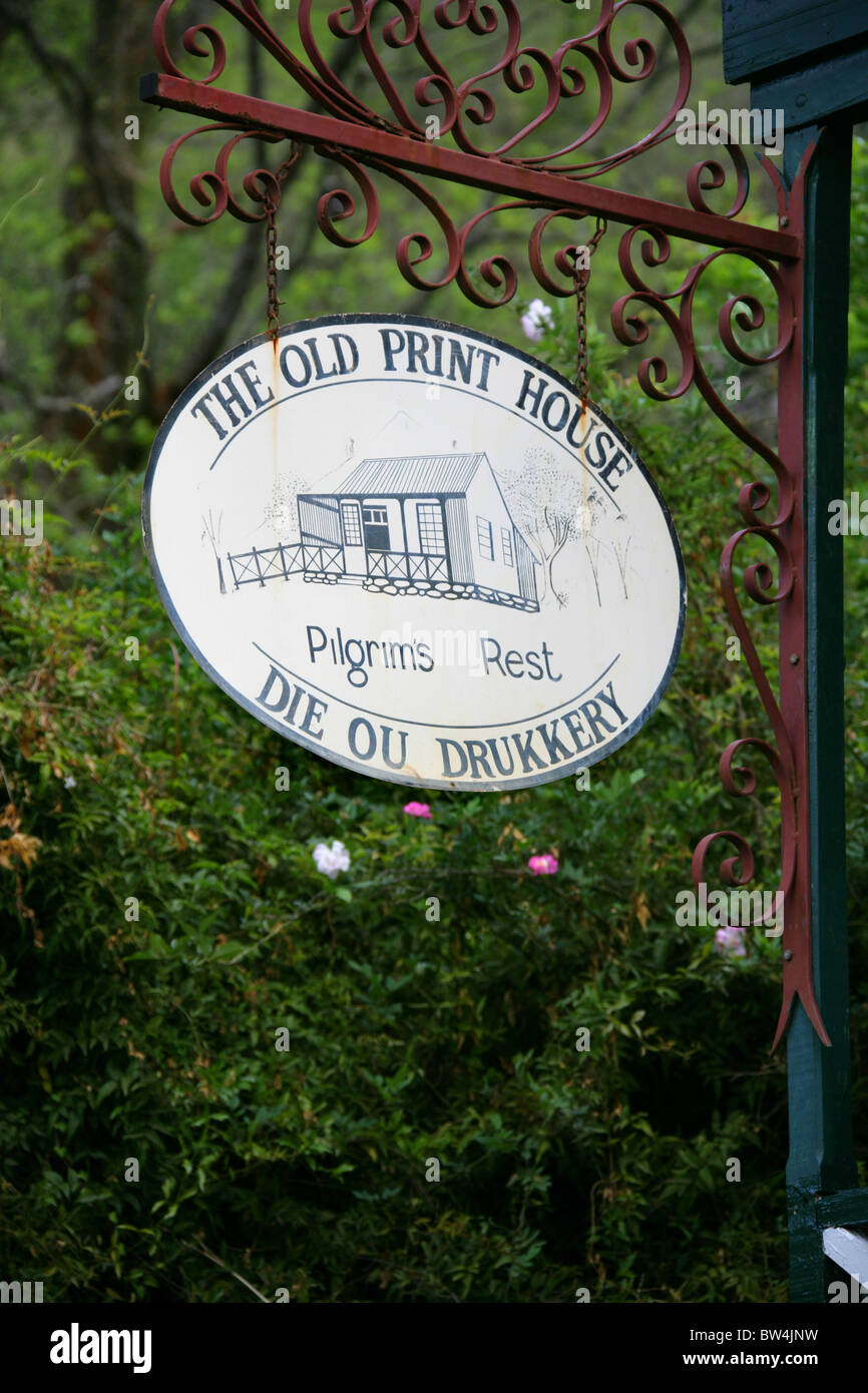 The Old Print House Sign, Pilgrim's Rest, Mpumalanga, South Africa - Stock Image