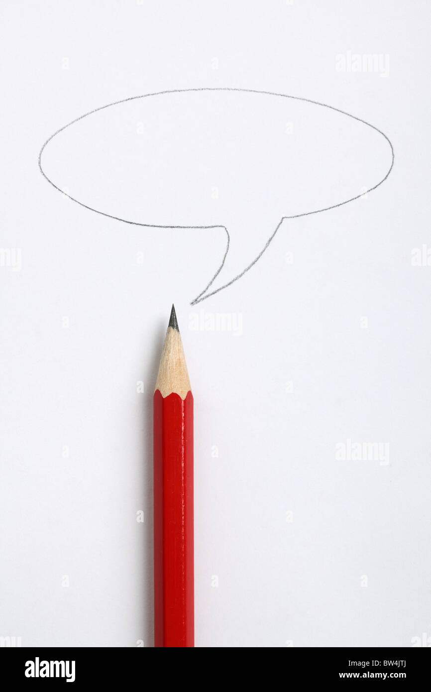 Speech bubble and sharp red pencil - Stock Image