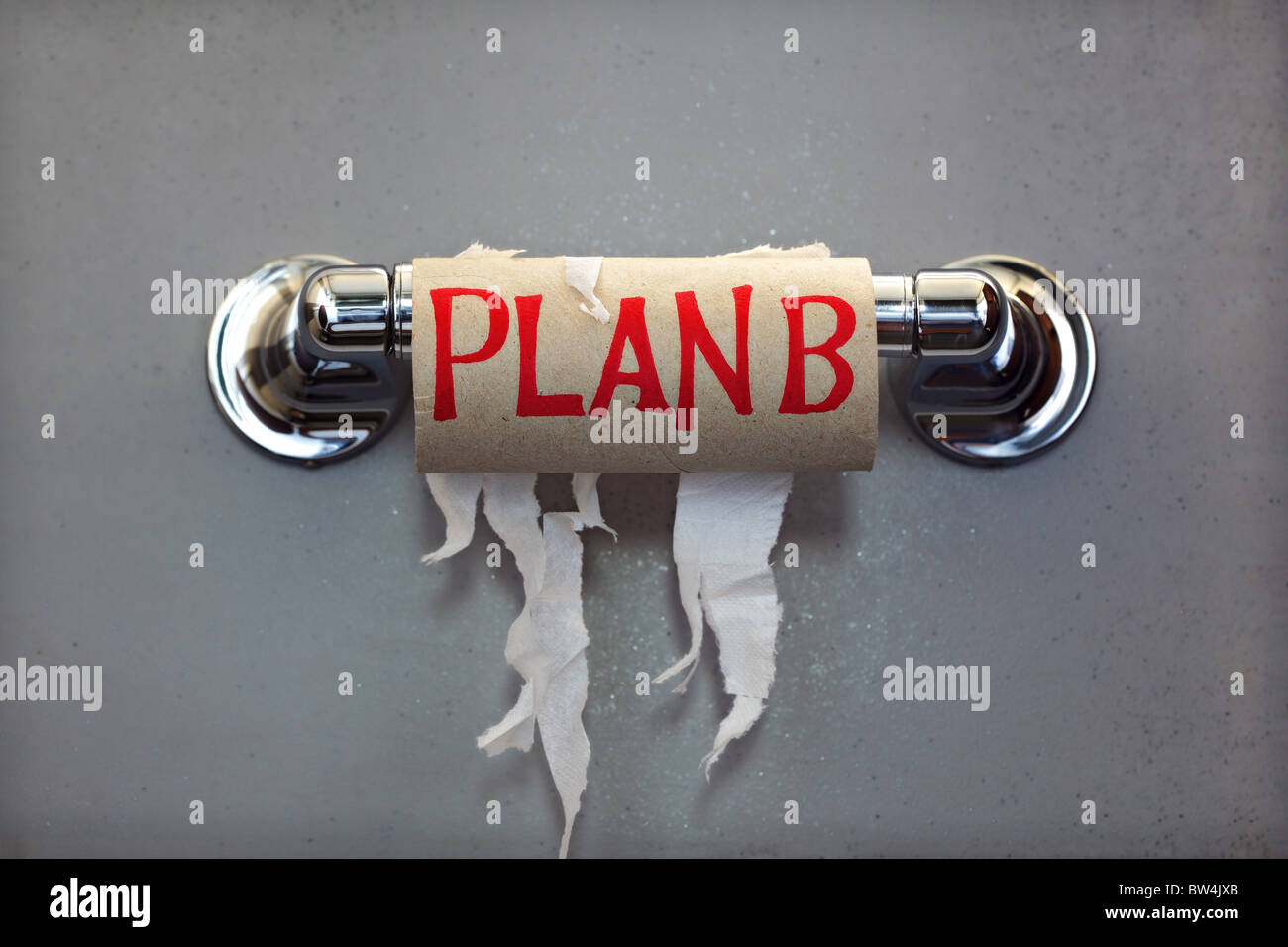 Plan B out of toilet paper - Stock Image