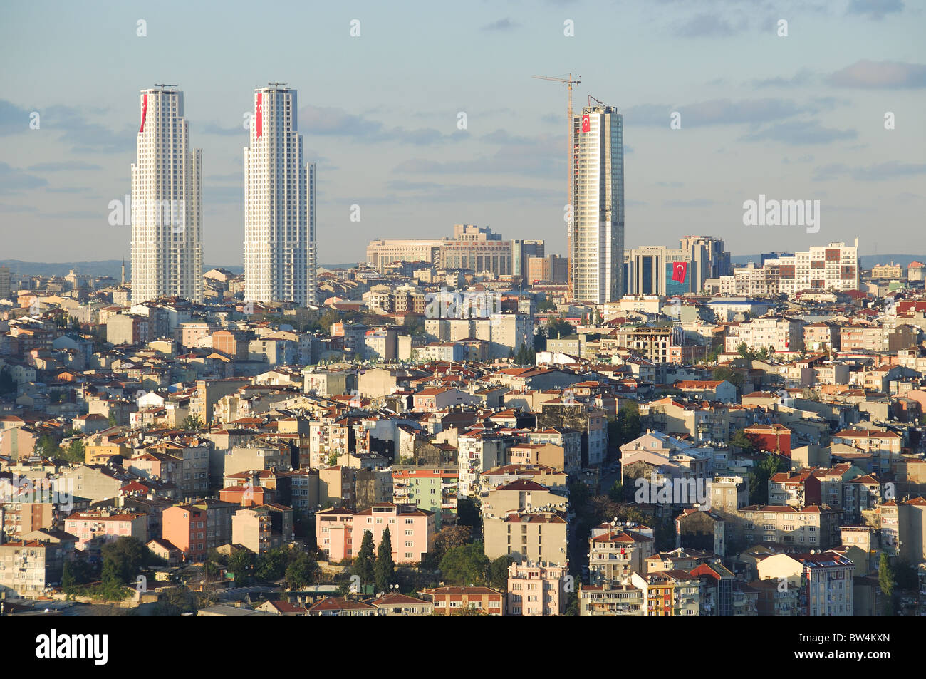ISTANBUL, TURKEY. A view from Beyoglu towards modern skyscrapers in the Sisli district of the city. Autumn 2010. - Stock Image
