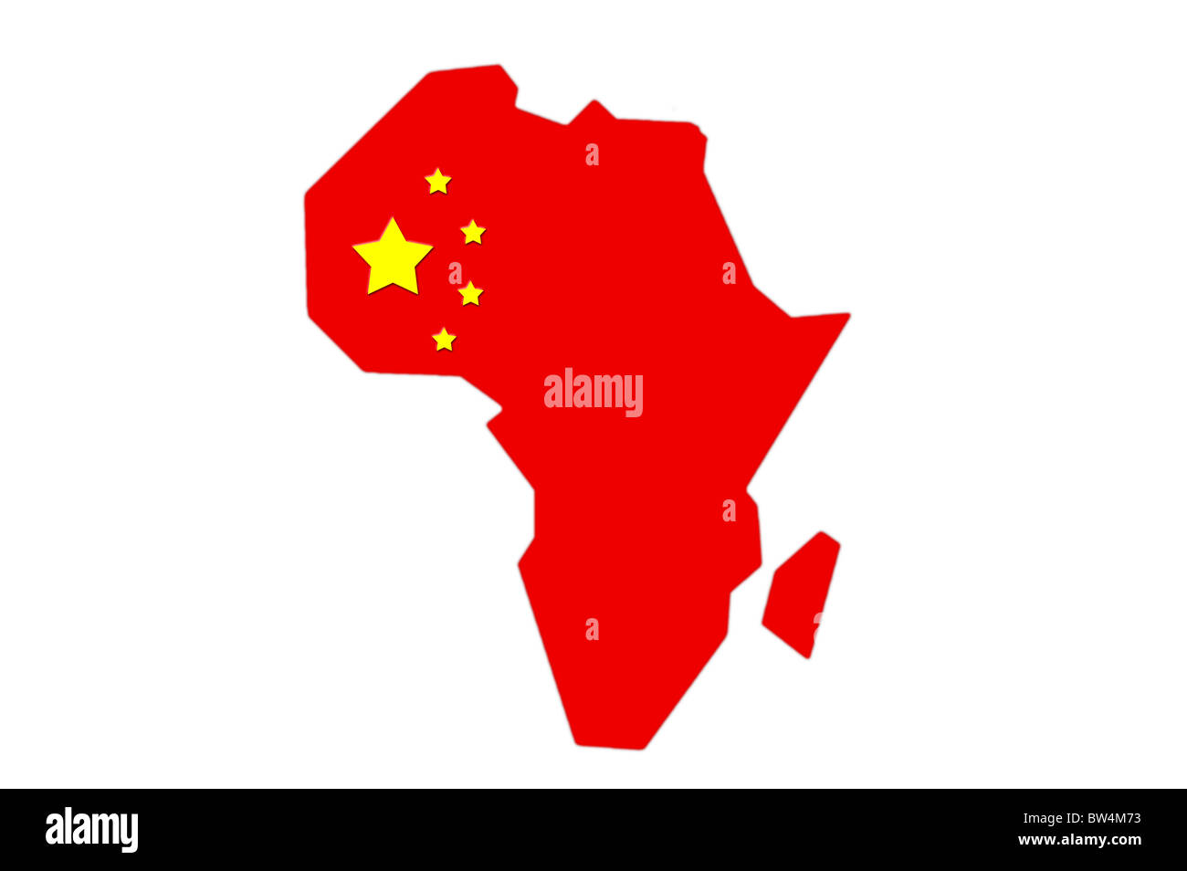 Shape Of Africa Map.Chinese Flag In The Shape Of A Map Of Africa Stock Photo 32680455