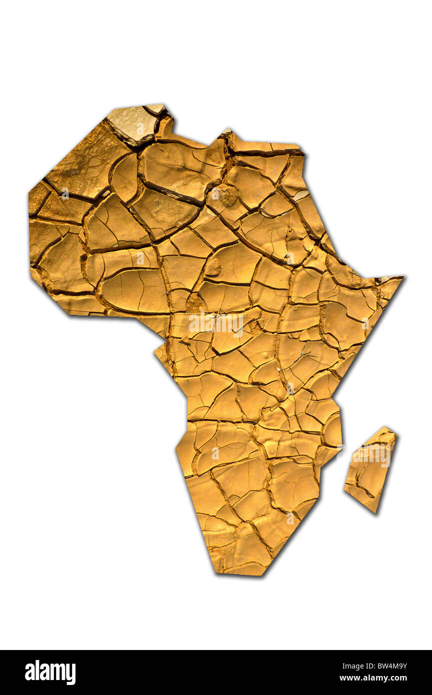 Shape Of Africa Map.Dry Cracked Earth In The Shape Of A Map Of Africa Stock Photo