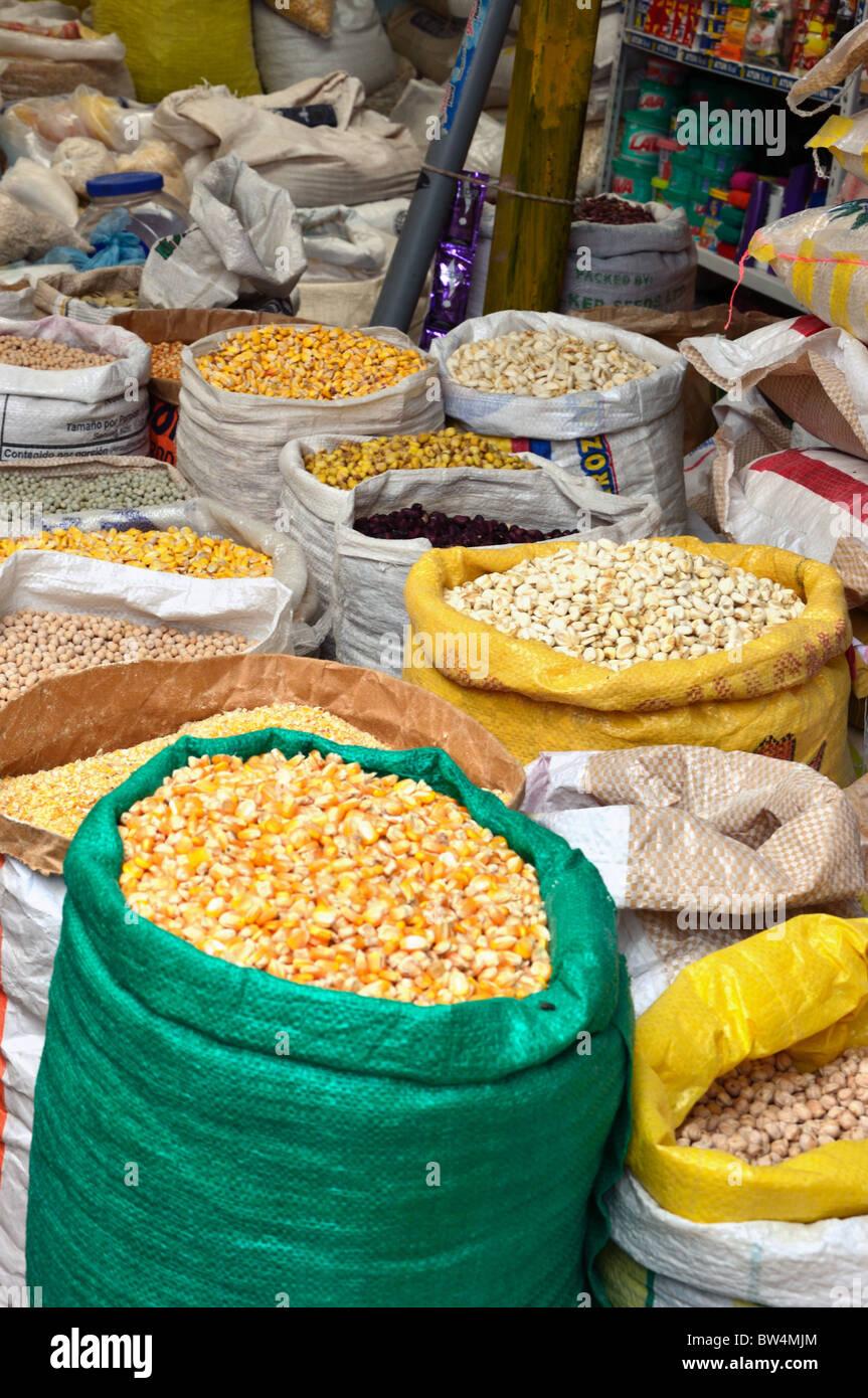Otavalo Market - Sacks of corn - Stock Image