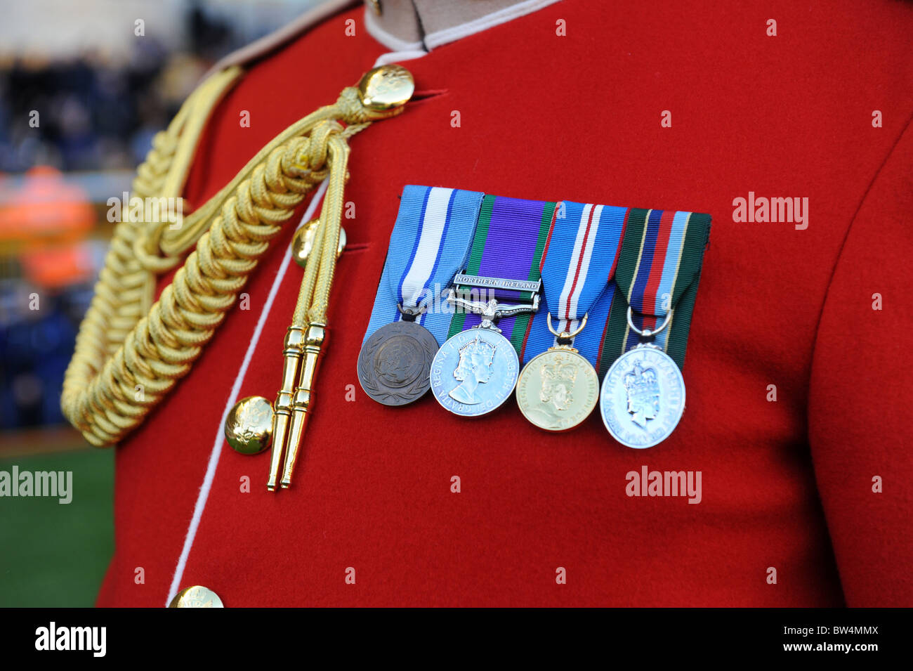 Medals and lanyard on the uniform of Mercian Regiment soldier - Stock Image