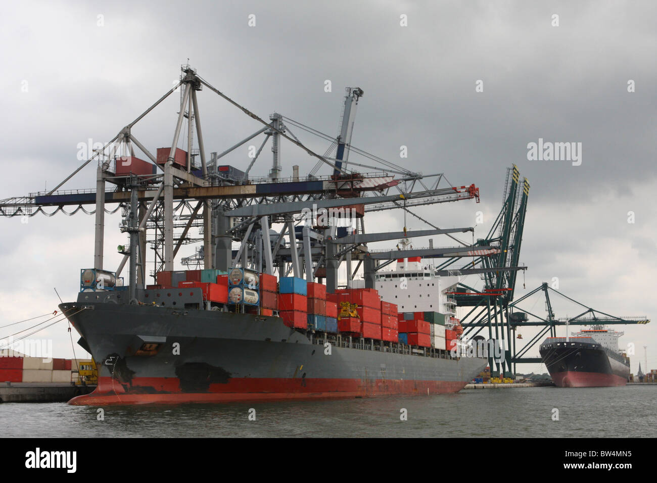 Container port in Antwerp, Belgium, second largest in Europe - Stock Image