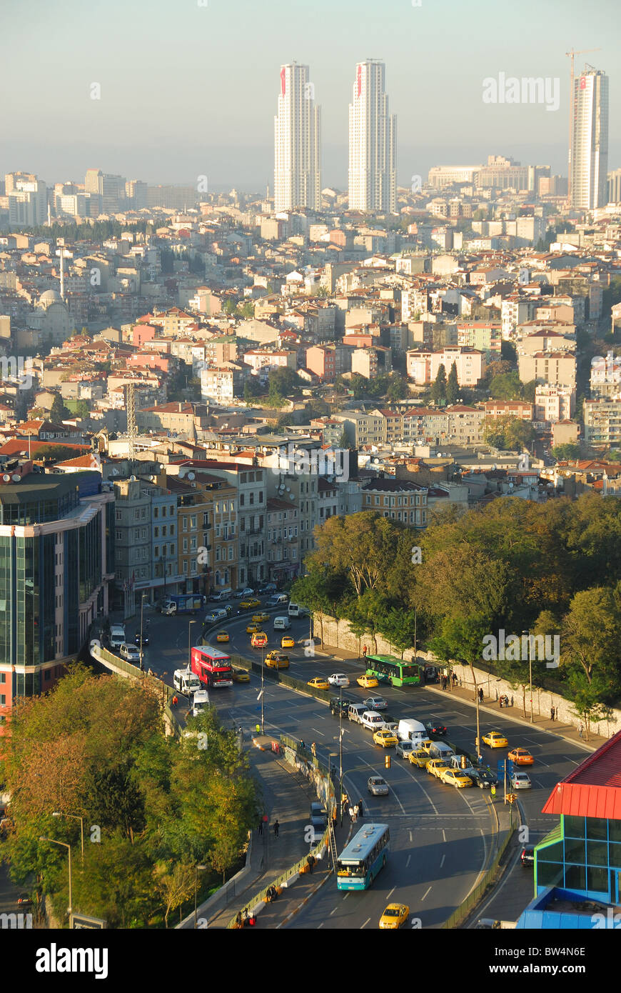 ISTANBUL, TURKEY. A view down on Tarlabasi Bulvari in Beyoglu, with Sisli district in the distance. Autumn 2010. Stock Photo