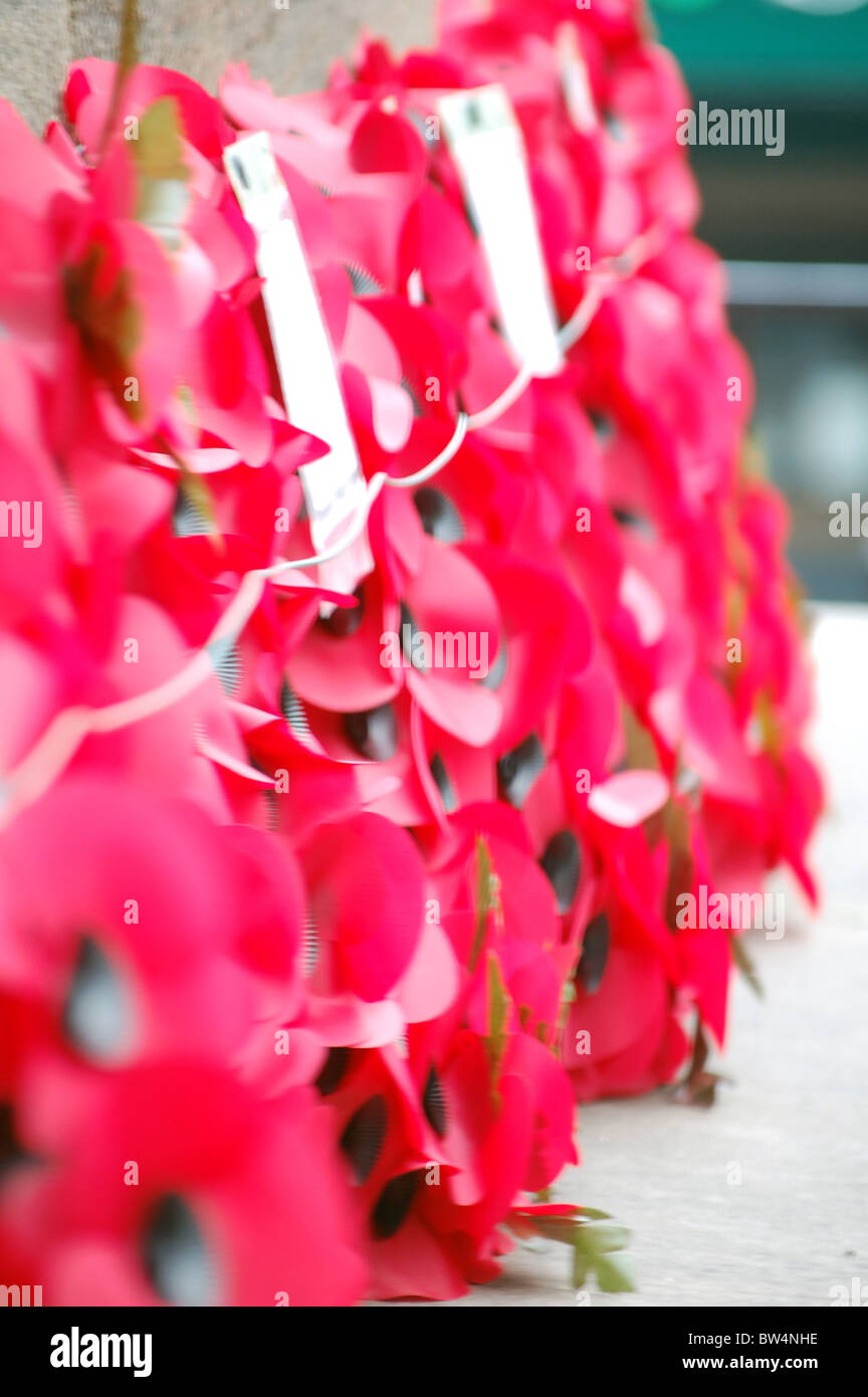 red poppy wreaths on cenotaph - Stock Image