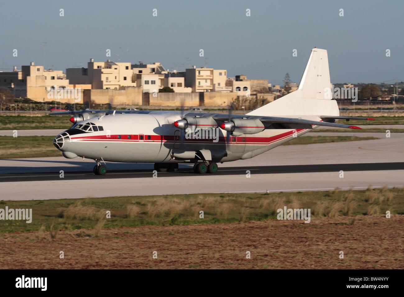Meridian Aviation Antonov An-12 taking off - Stock Image