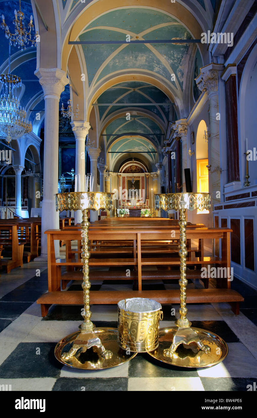 Interior of St-George Catholic Church in Ano Syros, on the Greek Cyclade island of Syros. - Stock Image