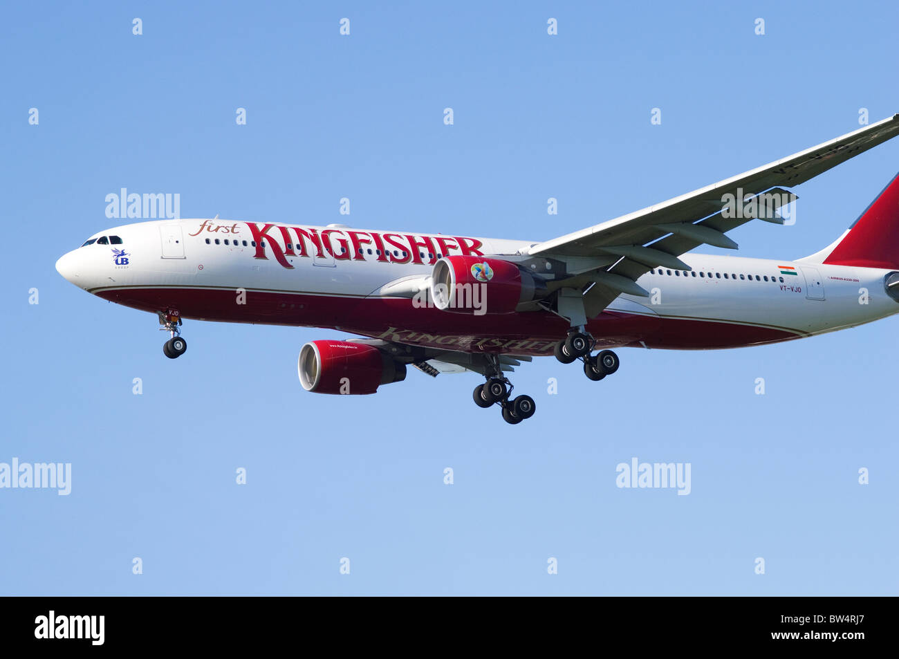 Boeing 777 Operated By Kingfisher Airlines On Approach For Landing At London Heathrow Airport