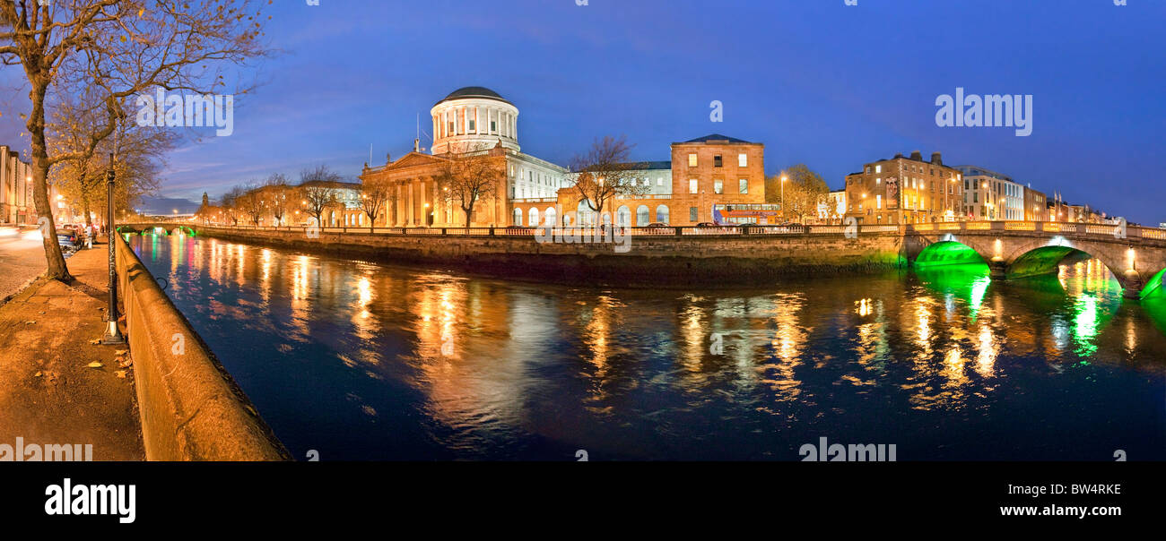 Dublin Four Courts with  O Donovan Rossa bridge, Dublin. - Stock Image