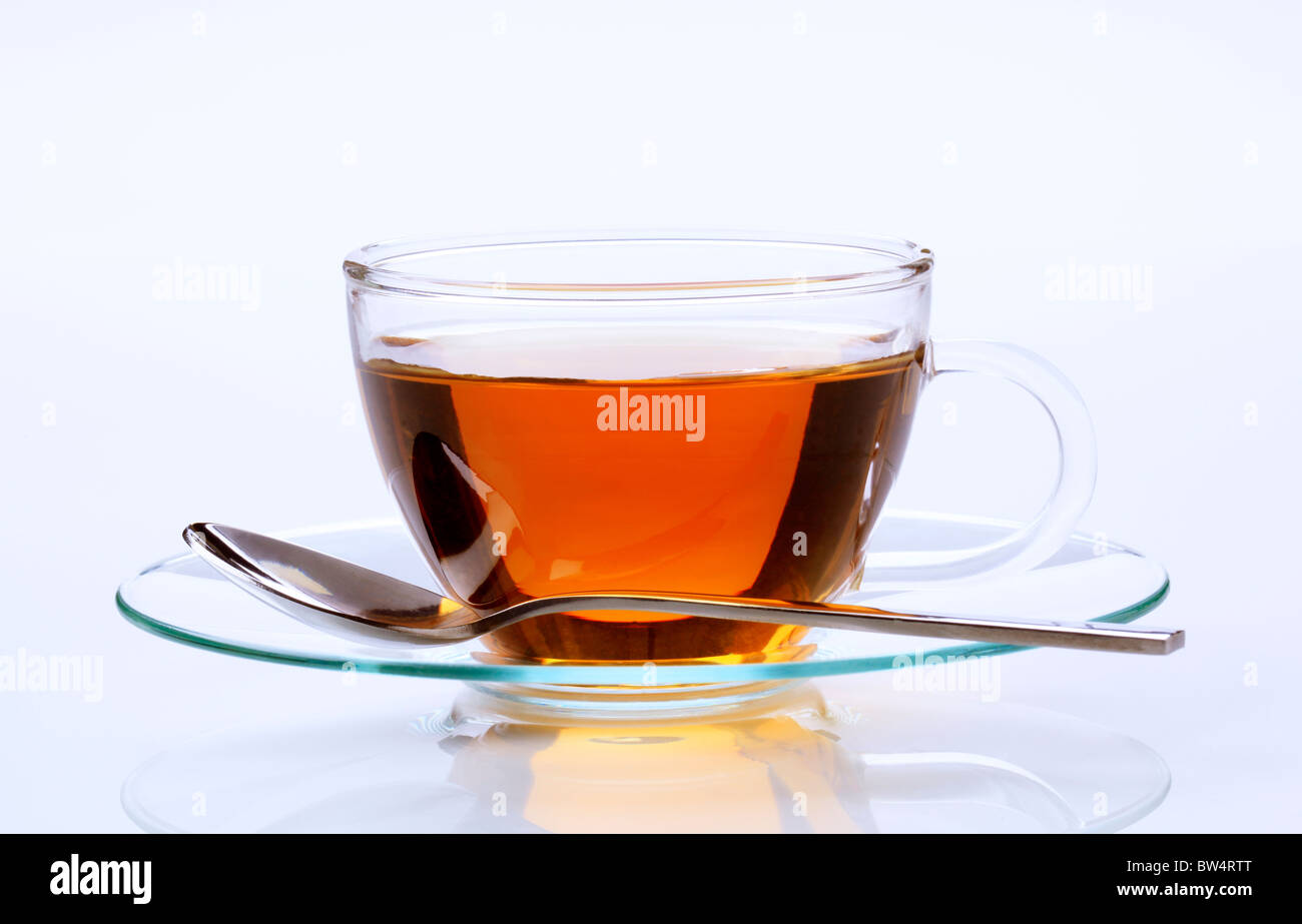 Black tea in a glass cup - Stock Image