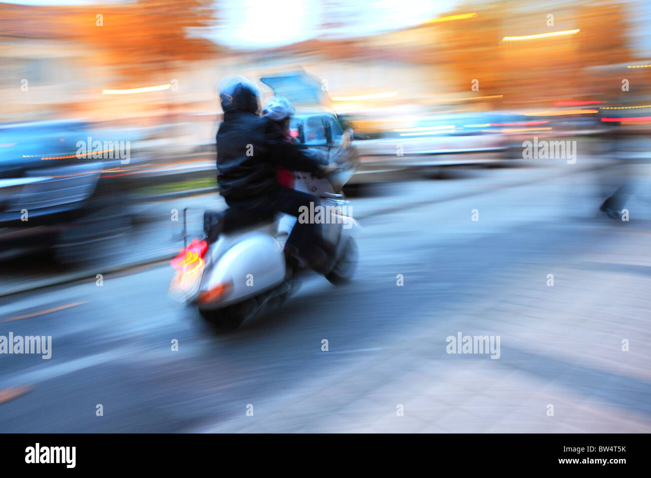 Abstract photo of motorcycle moving on the street. - Stock Image