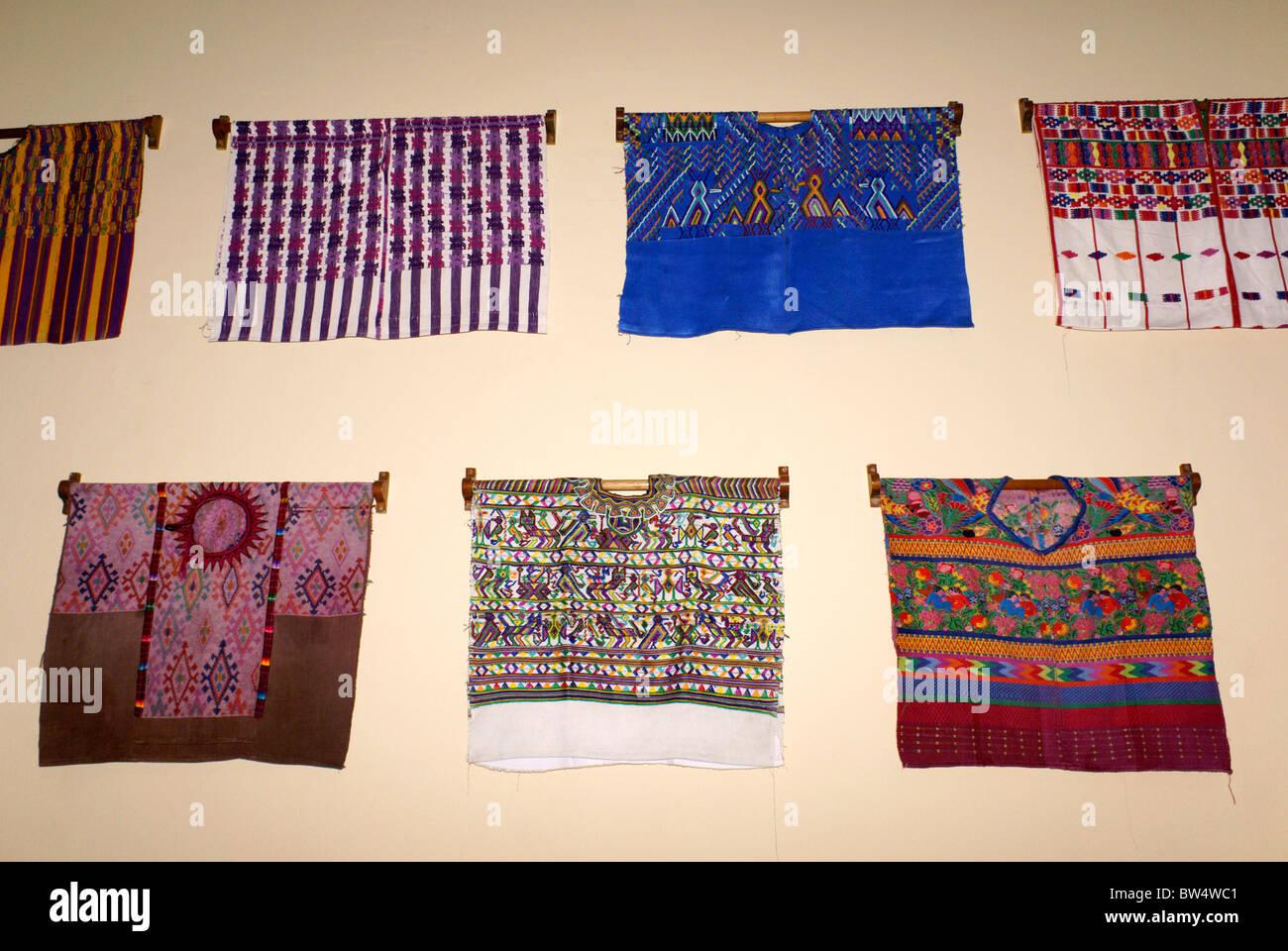 Traditional Maya huipils, Guatemala City, Guatemala Stock Photo