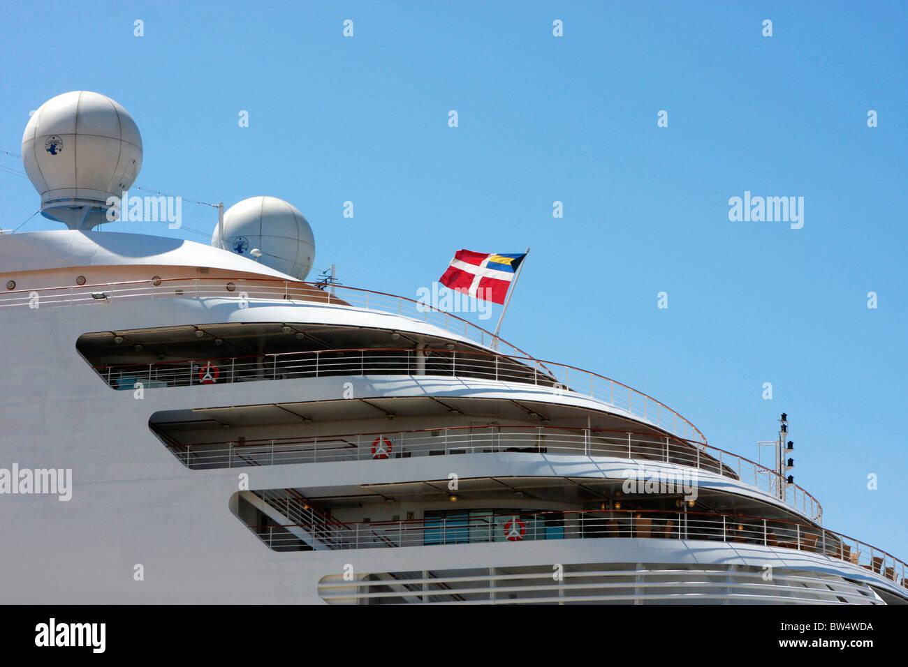 elegant,graphic design of the Italian owned,luxury cruiseship ,Silver Spirit - Stock Image