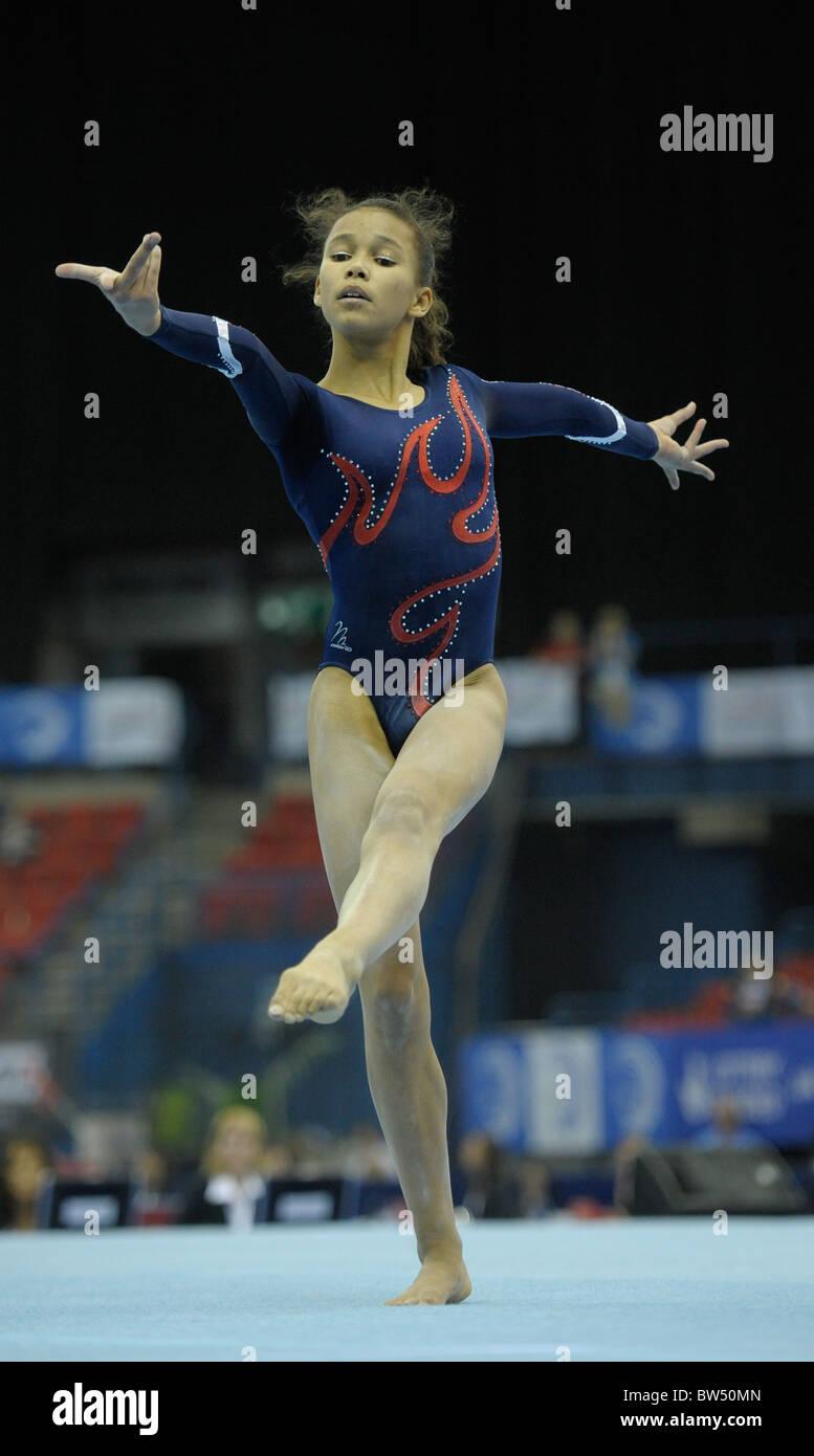 30.4.10 European Gymnastics Championships .Junior All Round Finals.MACKENZIELeilah of GB performs on floor. - Stock Image