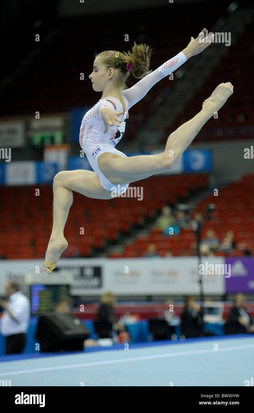 30.4.10 European Gymnastics Championships .Junior All Round Finals.GRISHINAAnastasia of Russia performs on - Stock Image