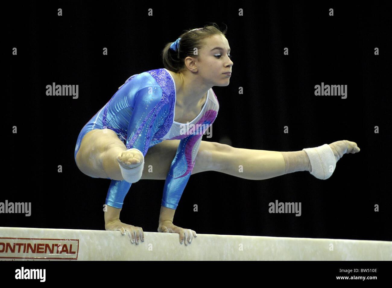 30.4.10 European Gymnastics Championships .Junior All Round Finals.FASANAErika of Italy on beam. - Stock Image