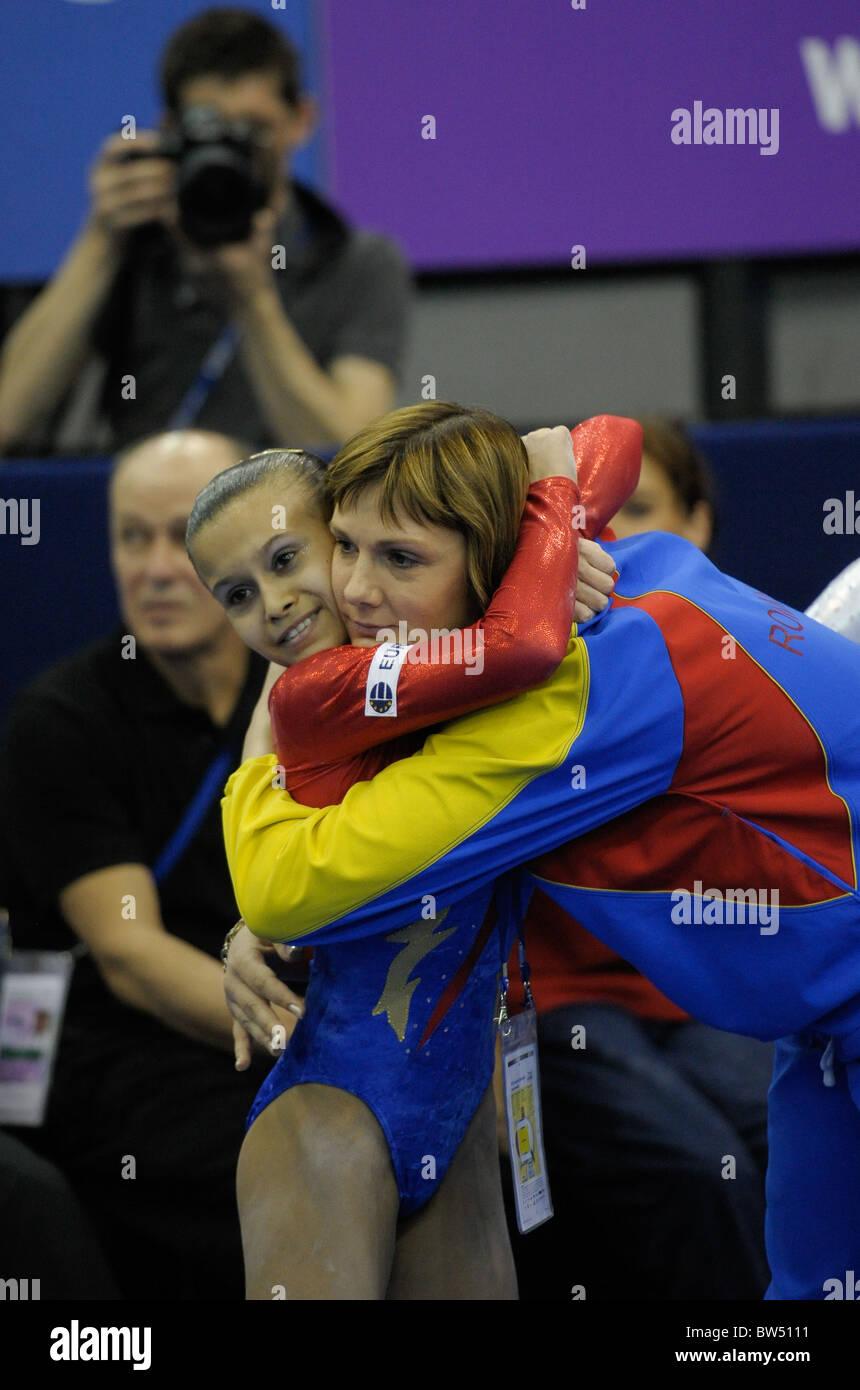 30.4.10 European Gymnastics Championships .Junior All Round Finals. BULIMARDiana & coach celebrate. Stock Photo