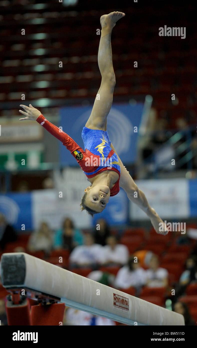 30.4.10 European Gymnastics Championships .BULIMARDiana performs on beam. - Stock Image
