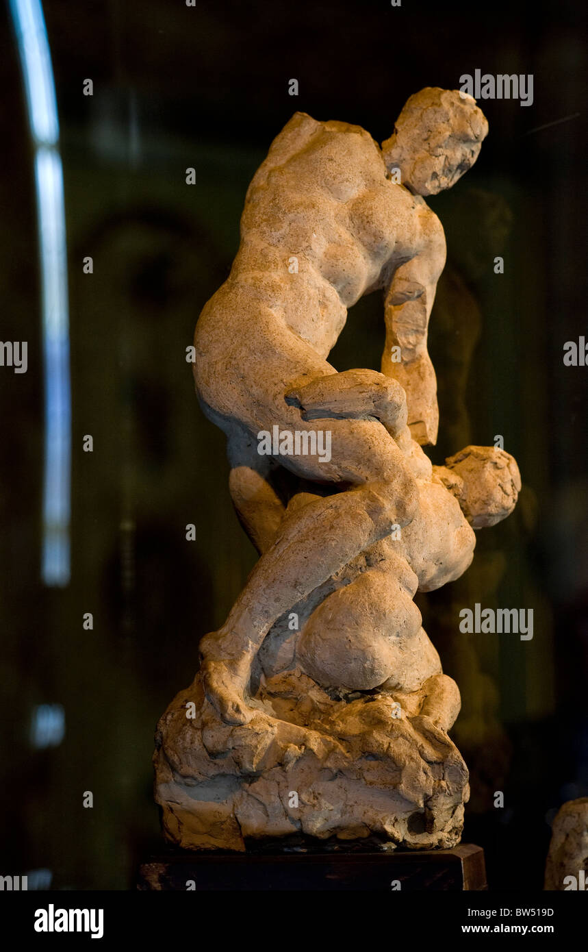 The 'Two Wrestlers'. A terracotta sketch by Michelangelo - Stock Image