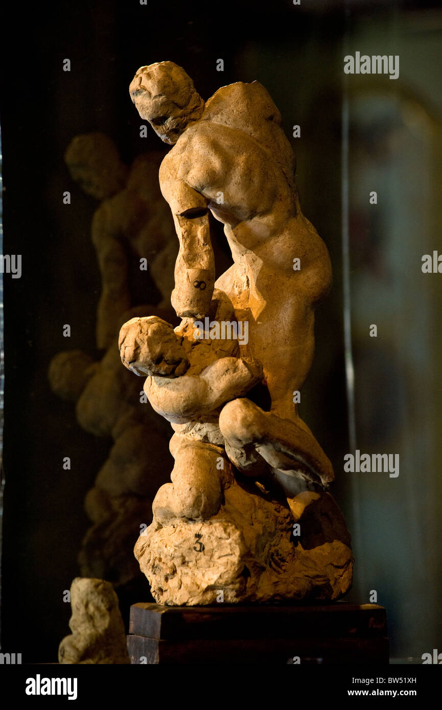 The 'Two Wrestlers', a terracotta sketch by Michelangelo - Stock Image