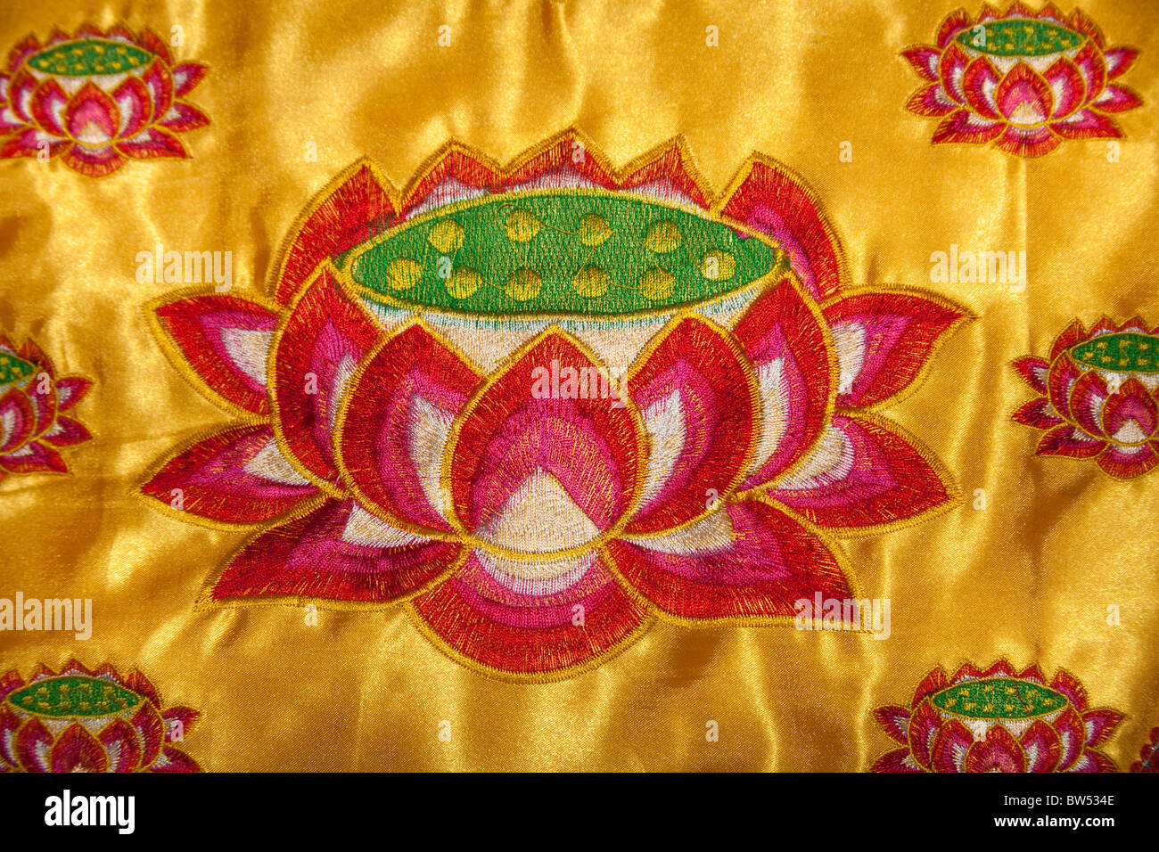 Colourful Chinese Embroidered Silk Prayer Stool Of Lotus Flower