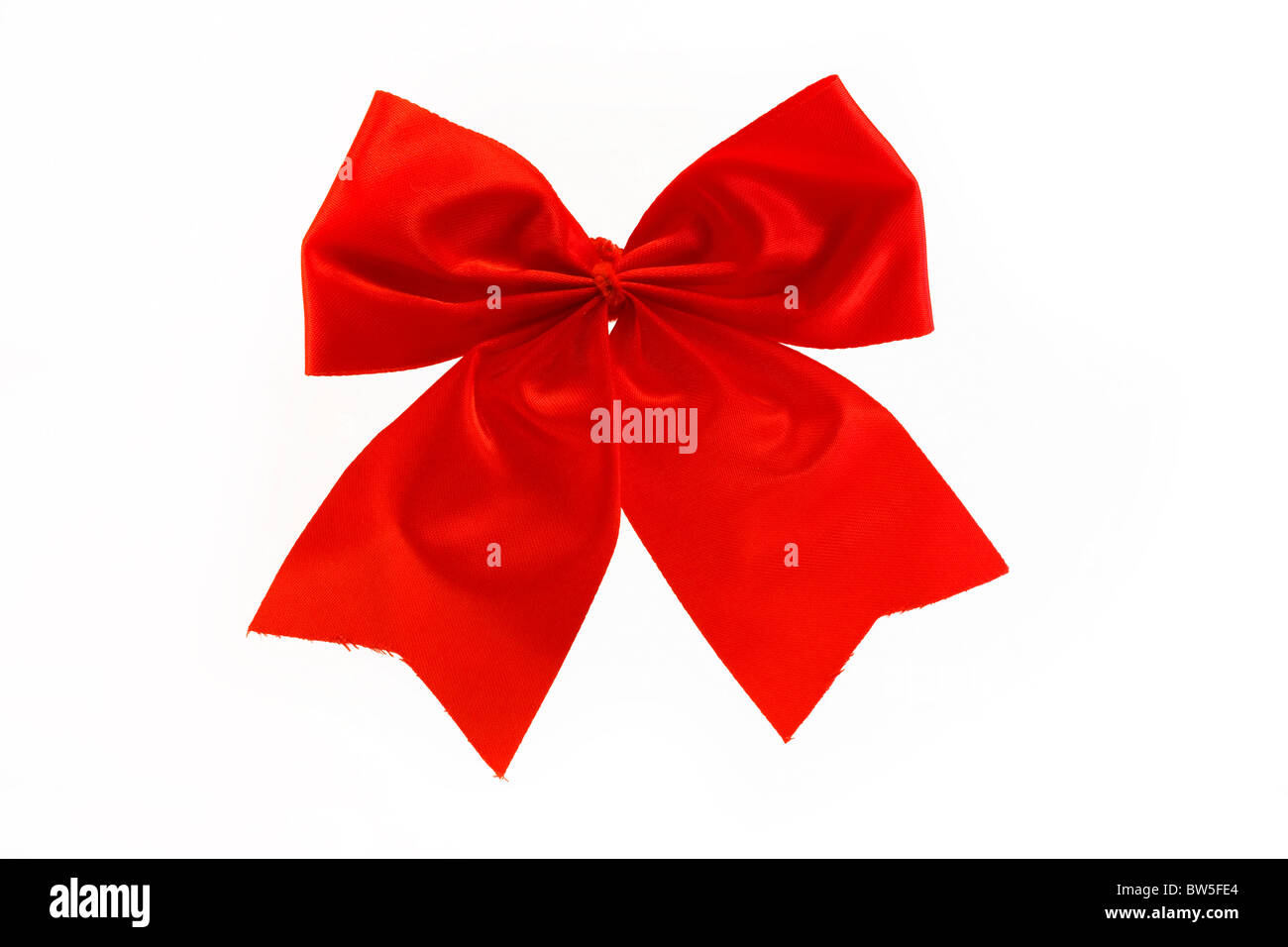 single red bow isolated over white - Stock Image