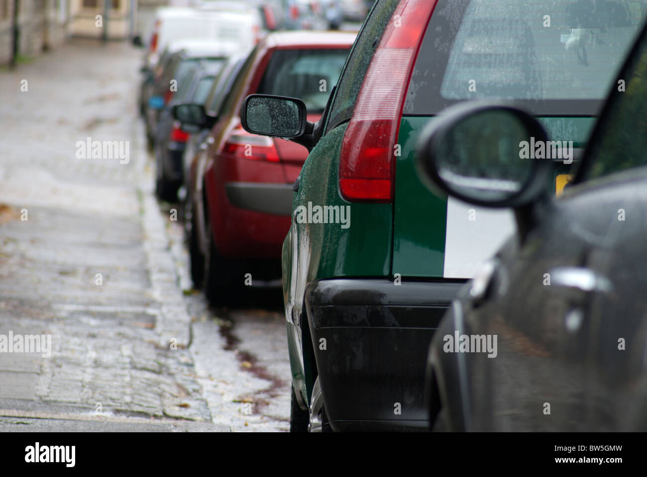 Cars Parked in Street - Stock Image