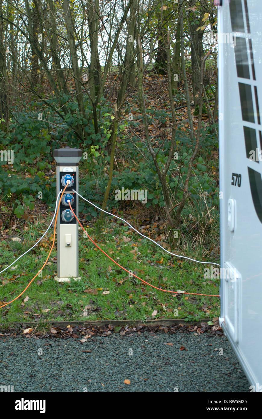 Caravan Electric Hook Up Stock Photo
