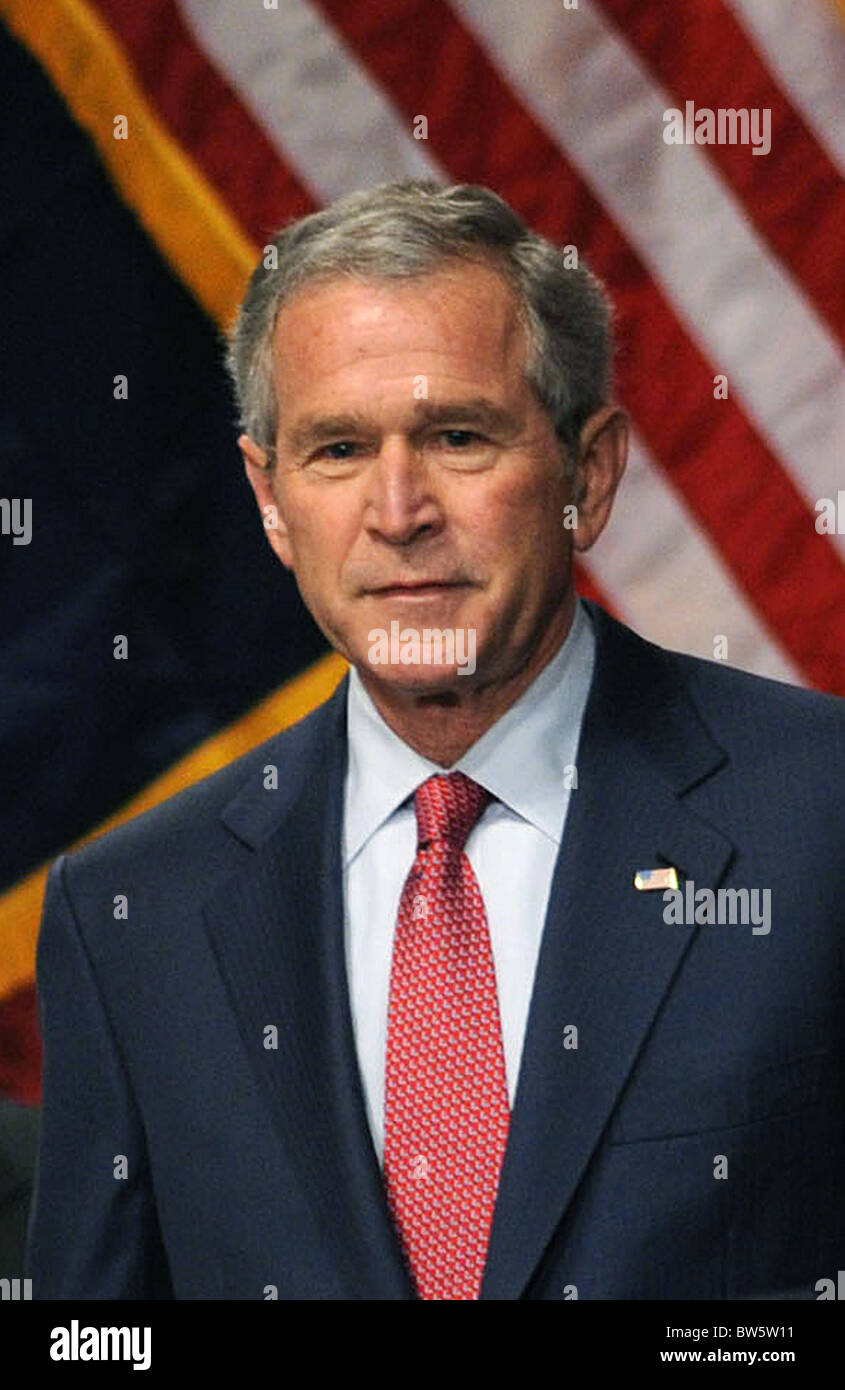US President George W. Bush Speaks to the Economic Club of New York Stock Photo