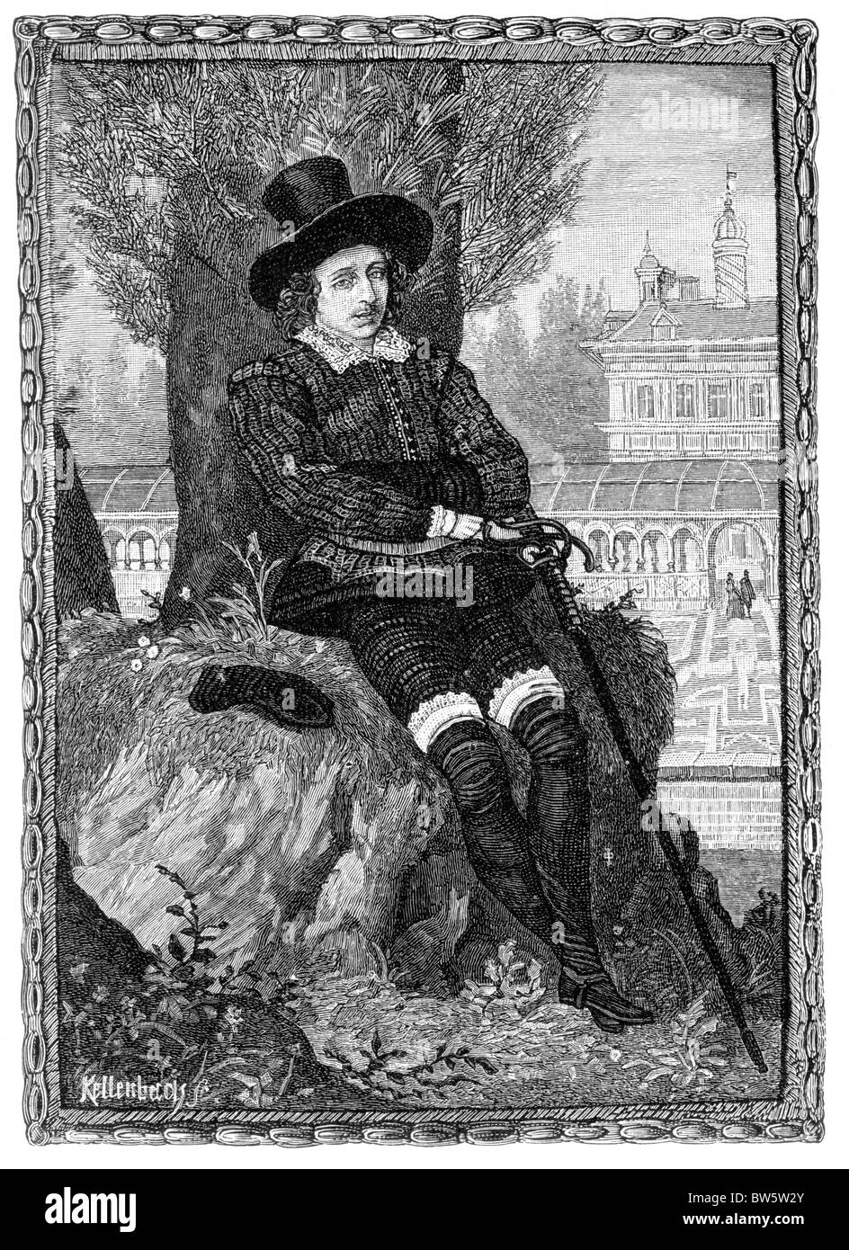 Sir Philip Sidney 16th century poet, courtier and soldier; Black and White Illustration by Isaac Oliver - Stock Image