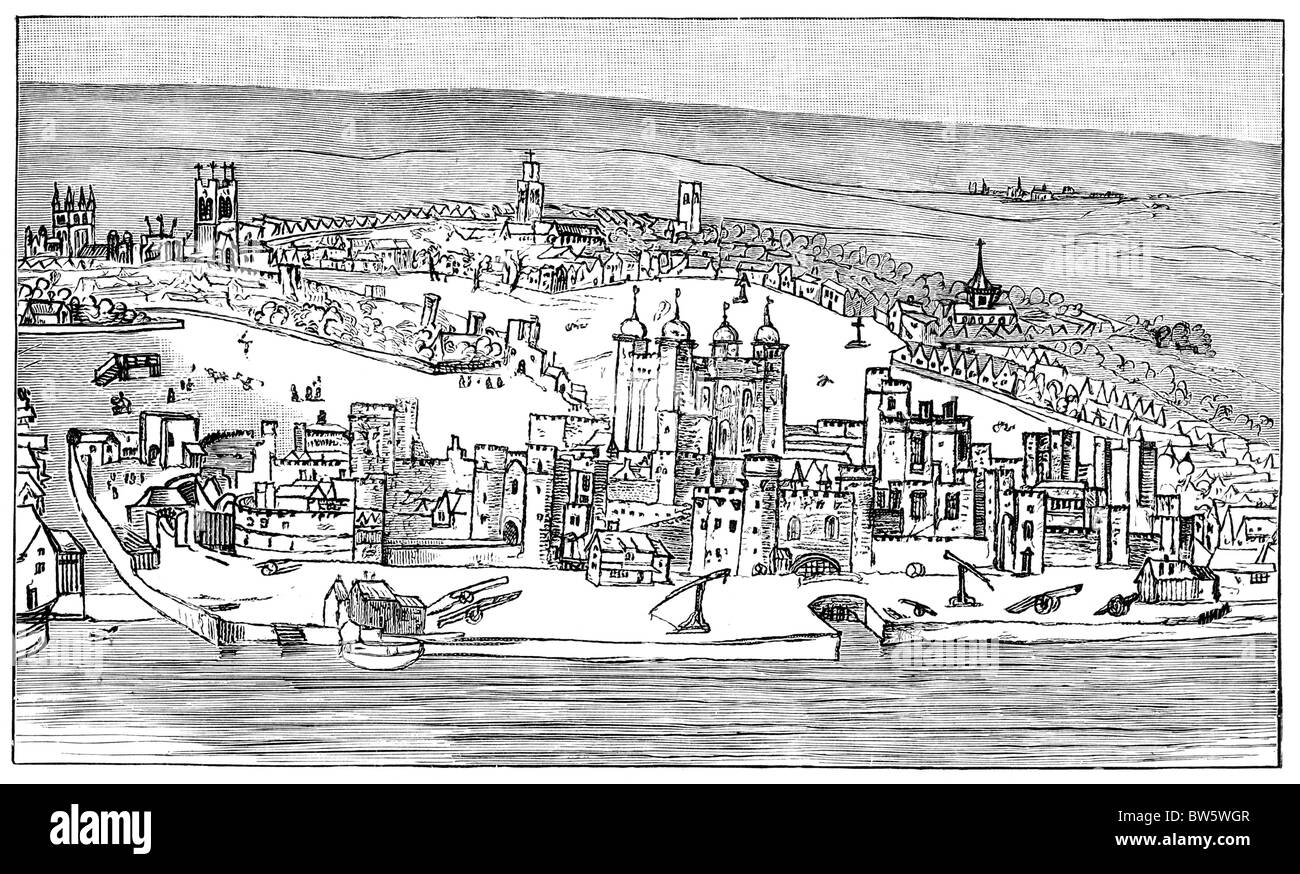 The Tower of London; Drawing by Anthony van Wyngaerde circa 1543; Black and White Illustration; - Stock Image