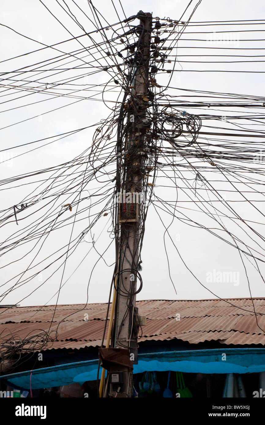 A confusion of telephone wires in Vientiane, capital of Laos Stock ...
