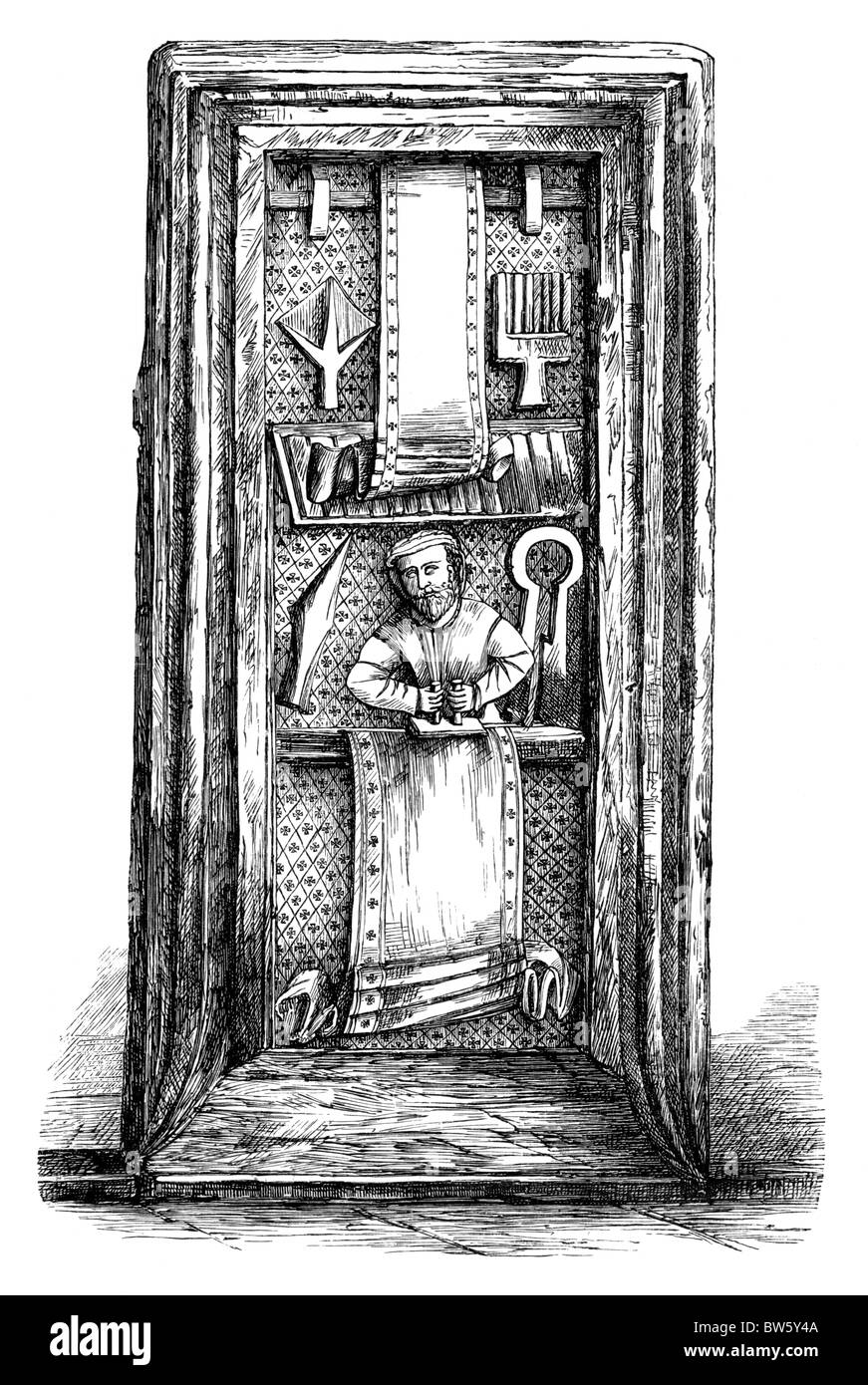 The Fuller's Panel; Carved pew end in Spaxton Church, somerset; Black and White Illustration; - Stock Image